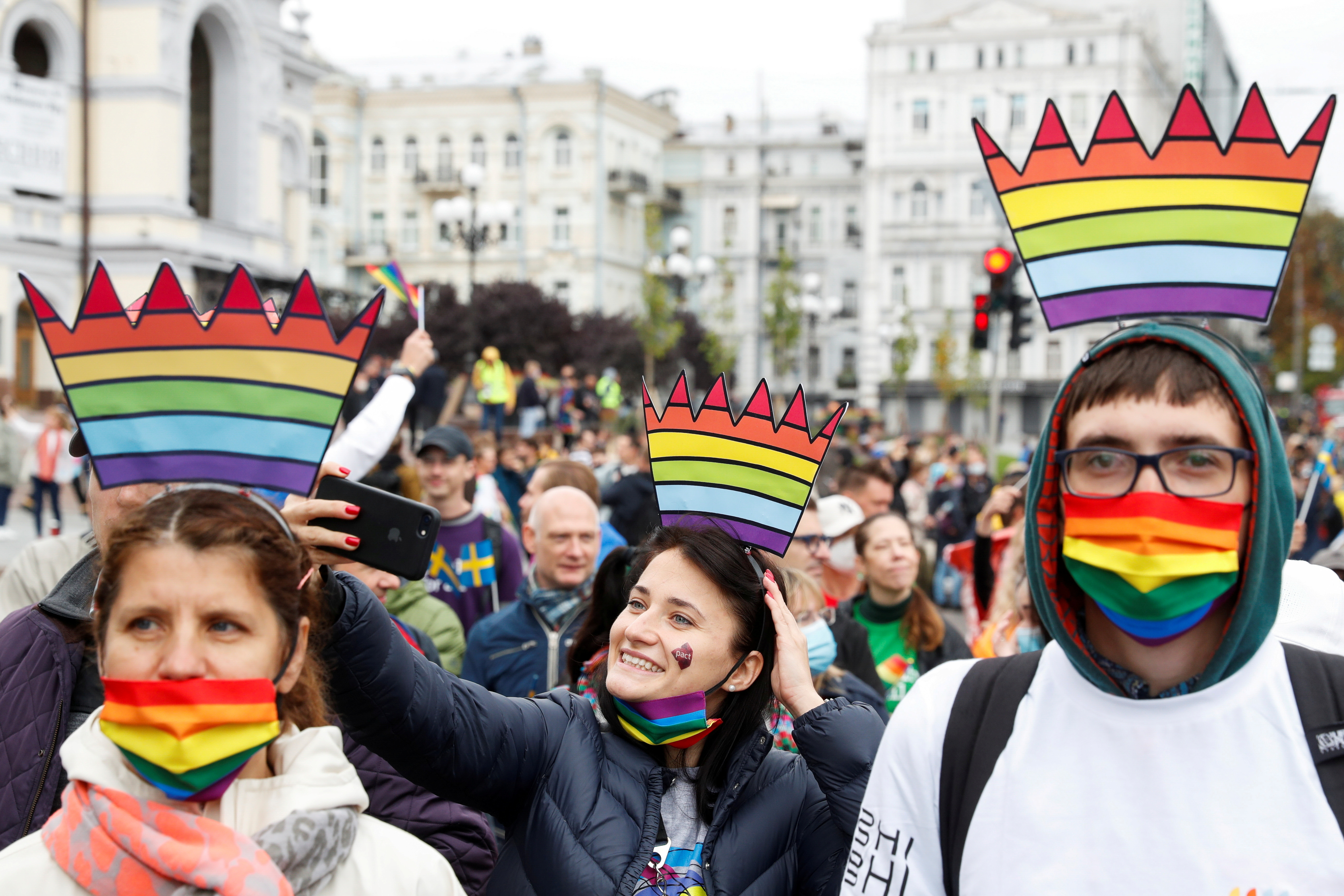 Participants take part in the Equality March, organized by the LGBT+ community in Kyiv, Ukraine September 19, 2021. REUTERS/Valentyn Ogirenko