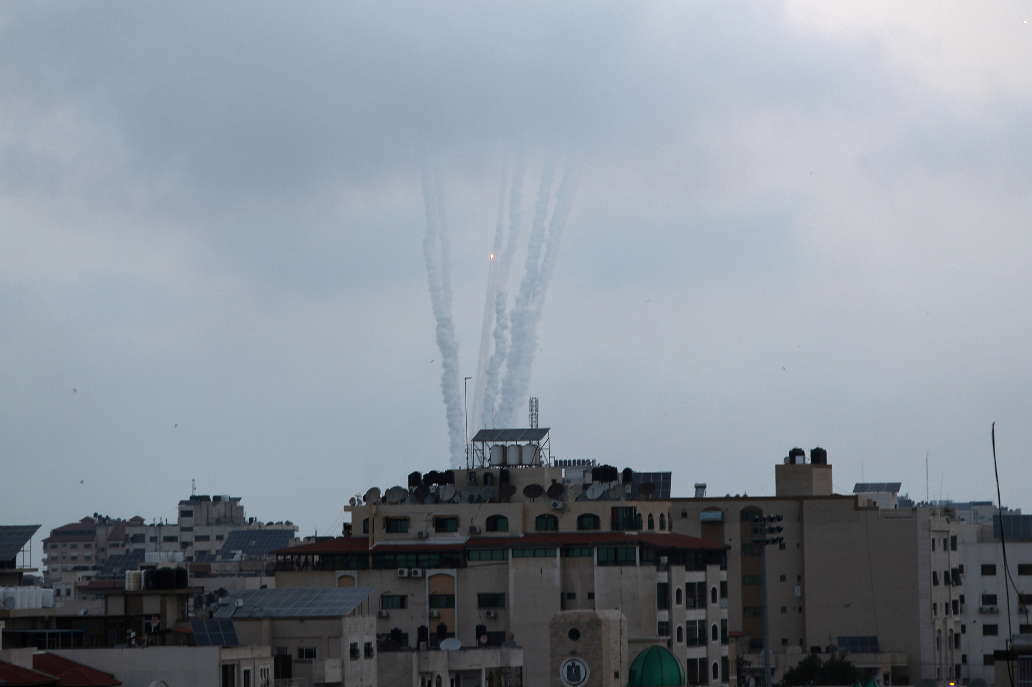 Rockets are launched by Palestinian militants into Israel, in Gaza May 11, 2021. REUTERS/Mohammed Salem