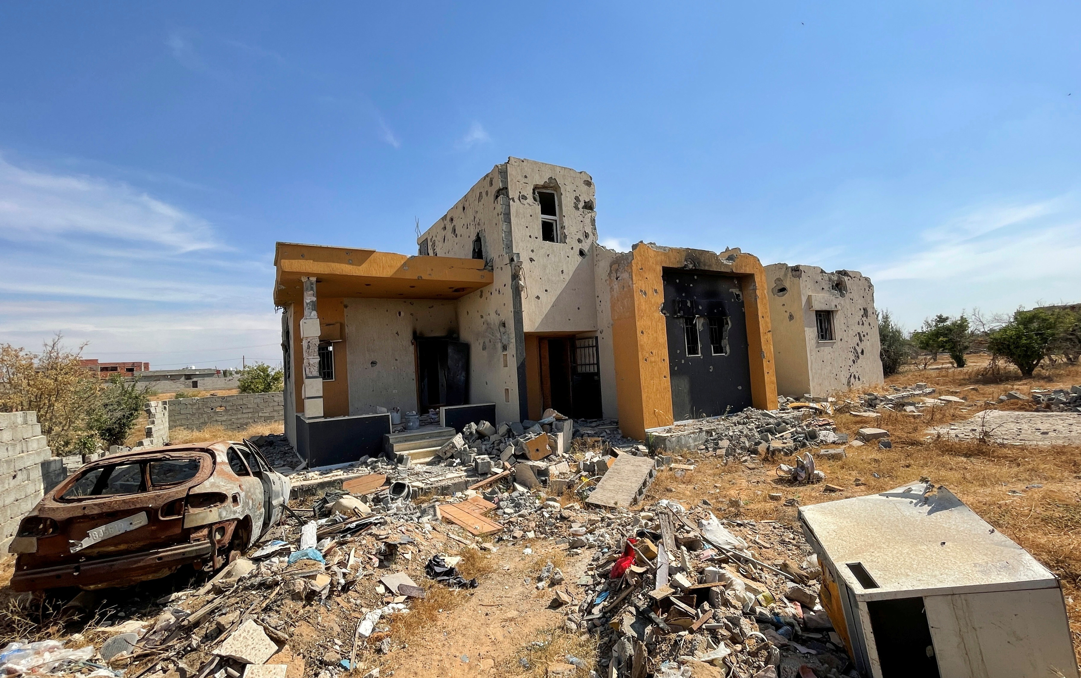 A damaged house is pictured in Tripoli, Libya June 9, 2021. Picture taken June 9, 2021. REUTERS/Hazem Ahmed