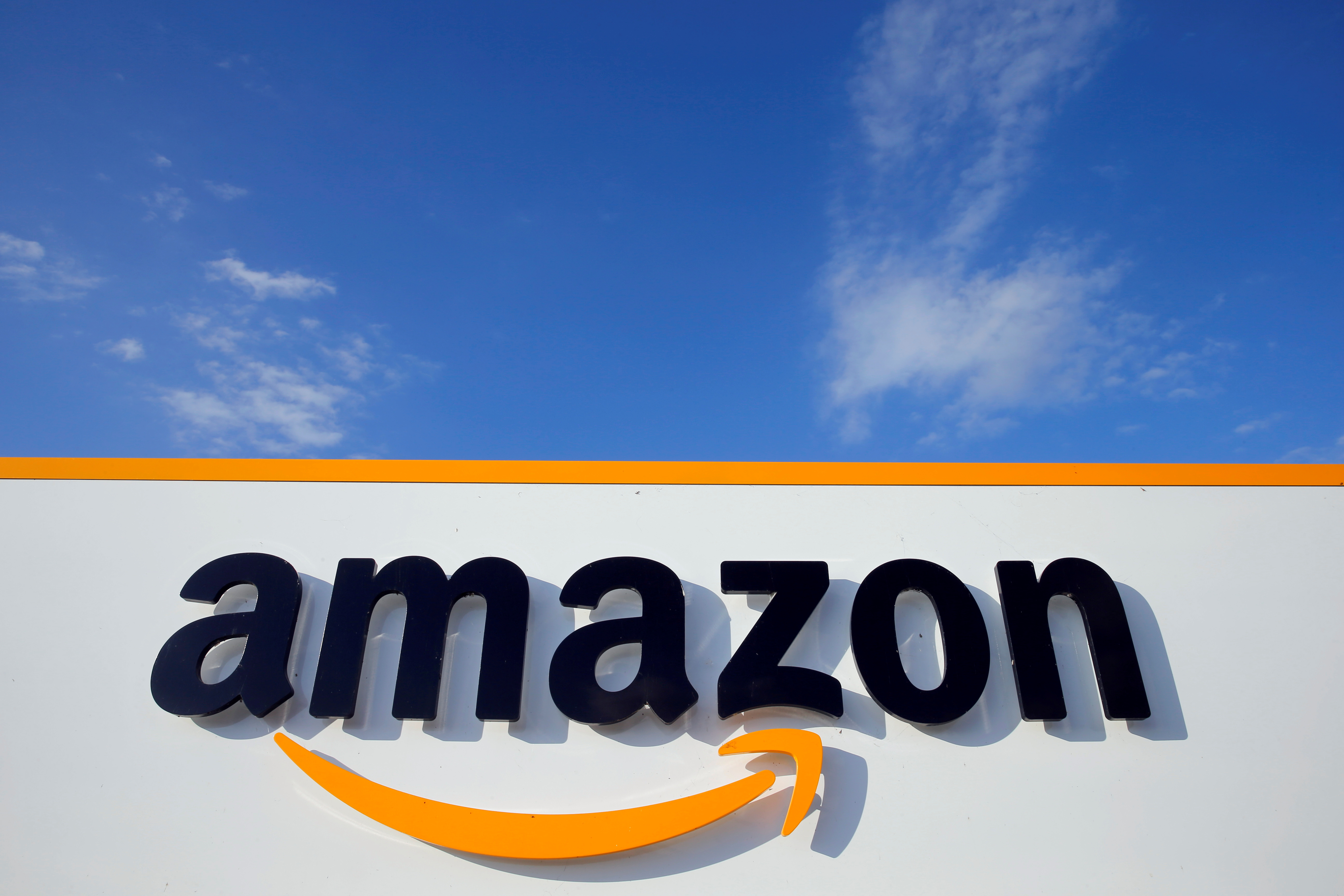 The logo of Amazon is seen at the company logistics centre in Boves, France, August 8, 2018. REUTERS/Pascal Rossignol/File Photo