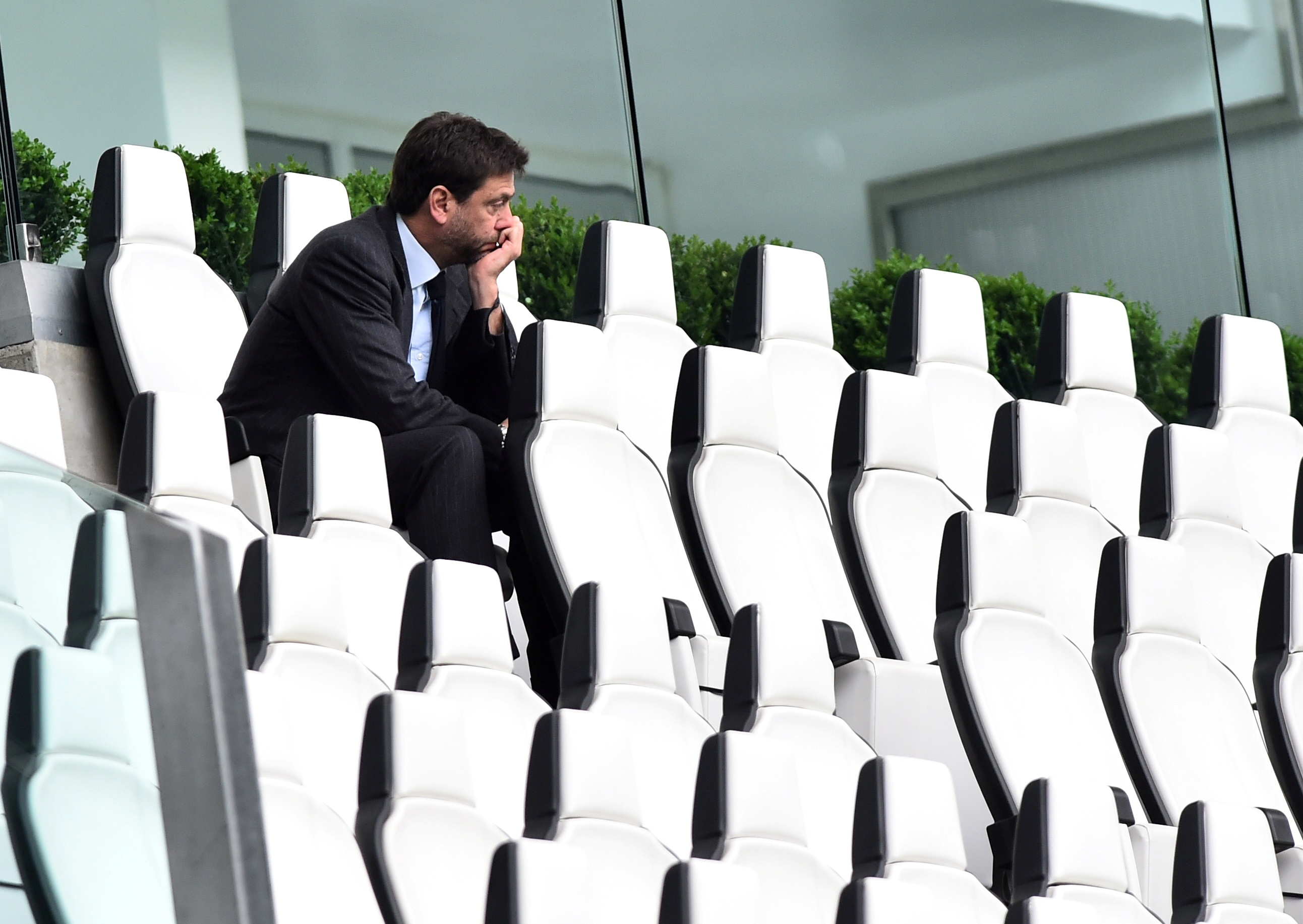 Soccer Football - Serie A - Juventus v Genoa - Allianz Stadium, Turin, Italy - April 11, 2021 Juventus president Andrea Agnelli sat in the stands before the match REUTERS/Massimo Pinca/File Photo