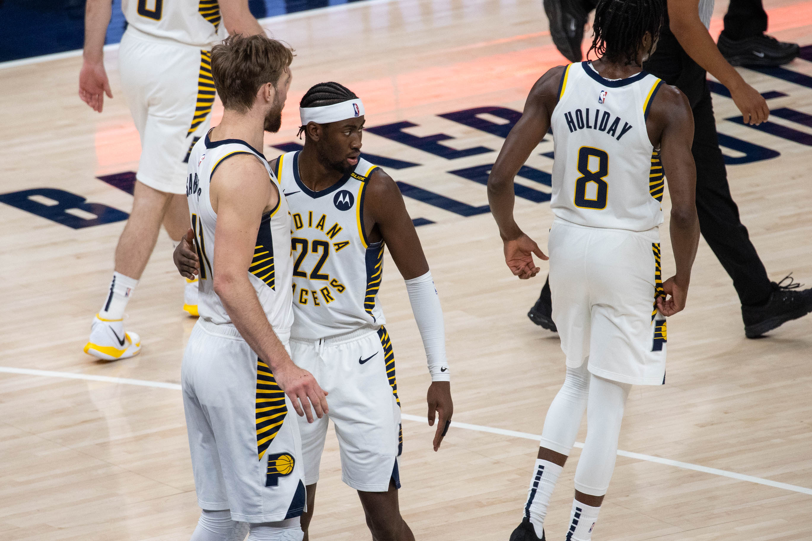 May 6, 2021; Indianapolis, Indiana, USA; Indiana Pacers forward Domantas Sabonis (11) and Indiana Pacers guard Caris LeVert (22) celebrate the win over Atlanta Hawks  at Bankers Life Fieldhouse. Mandatory Credit: Trevor Ruszkowski-USA TODAY Sports