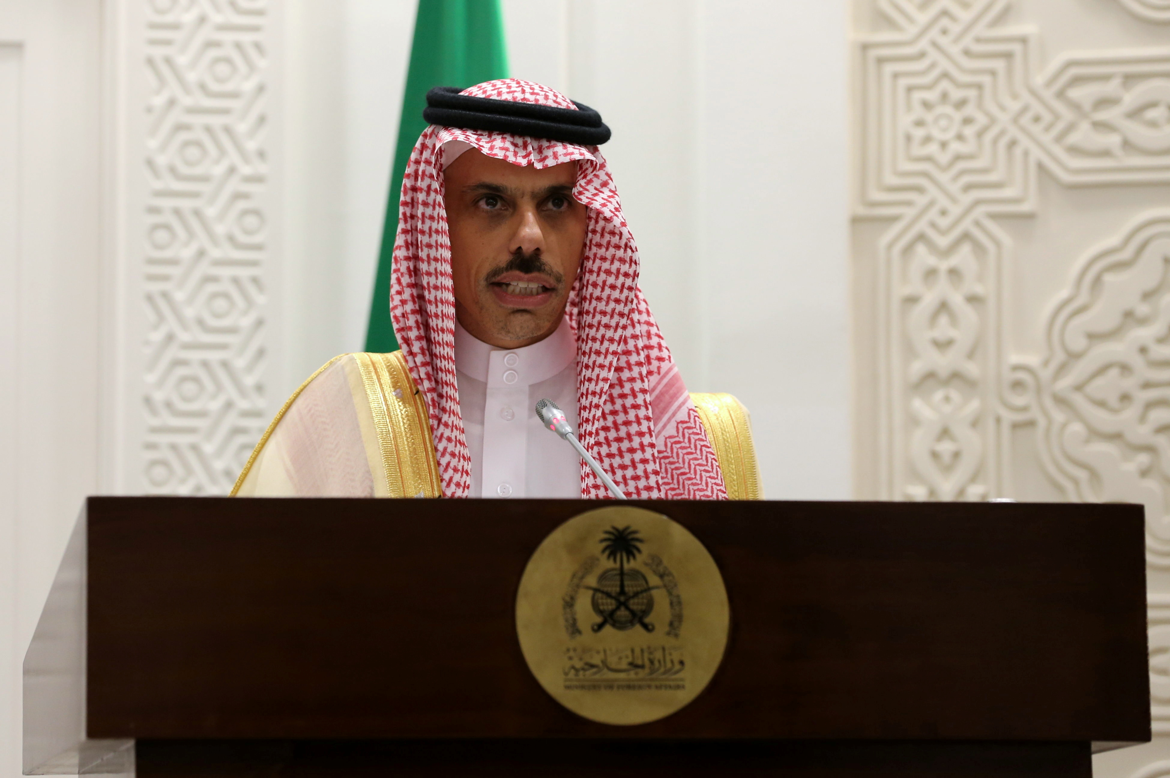 Saudi Arabia's Foreign Minister Faisal bin Farhan Al-Saud speaks during a joint news conference with EU foreign policy chief Josep Borrell in Riyadh, Saudi Arabia, October 3, 2021. REUTERS/Ahmed Yosri