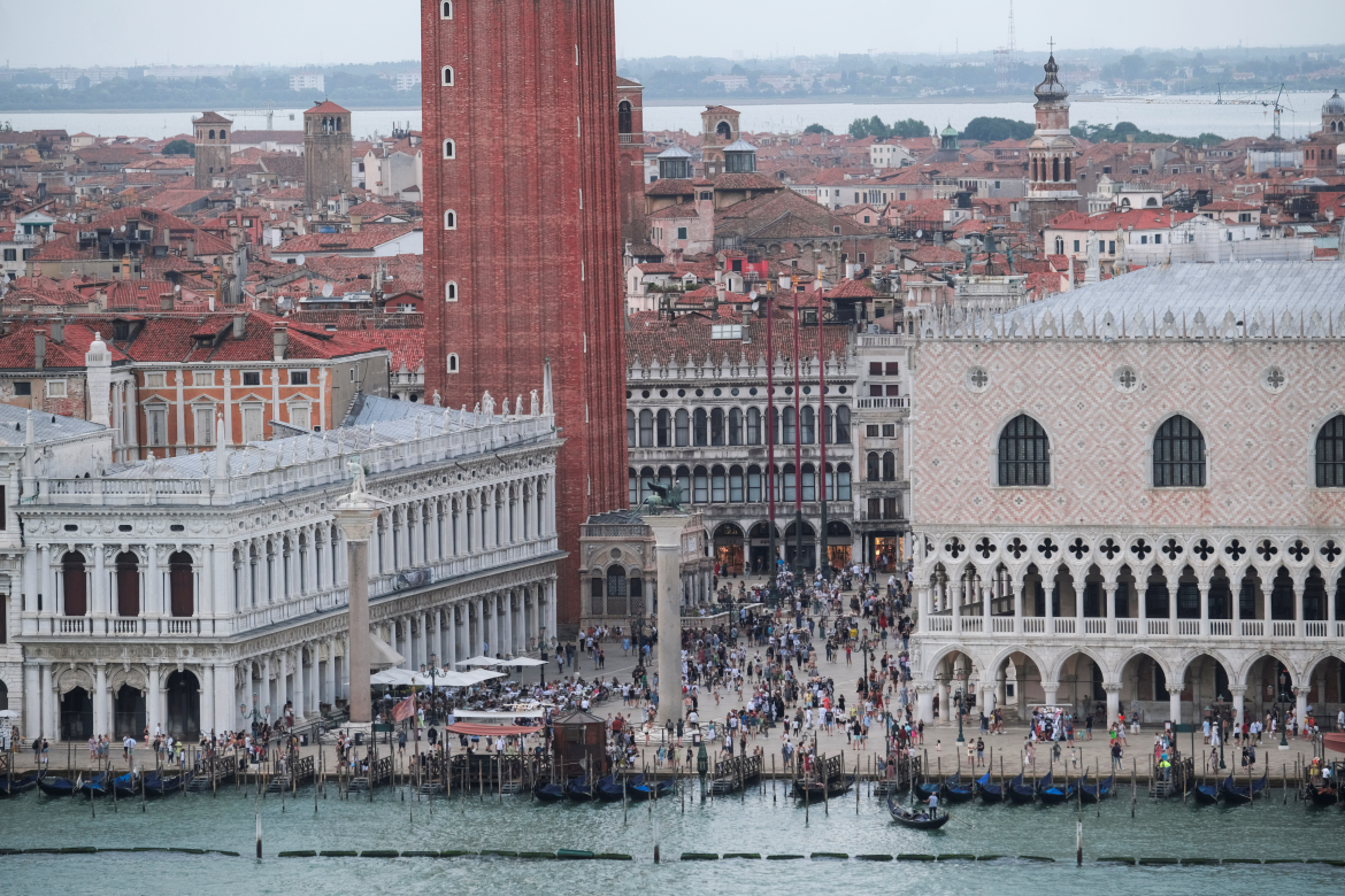 View of St. Mark's Square from above as Venice gears up for a ban on cruise liners that becomes effective on August 1, moving to end years of hesitation and putting the demands of residents and culture bodies above those of the tourist industry, in Venice, Italy, July 27, 2021.  REUTERS/Manuel Silvestri