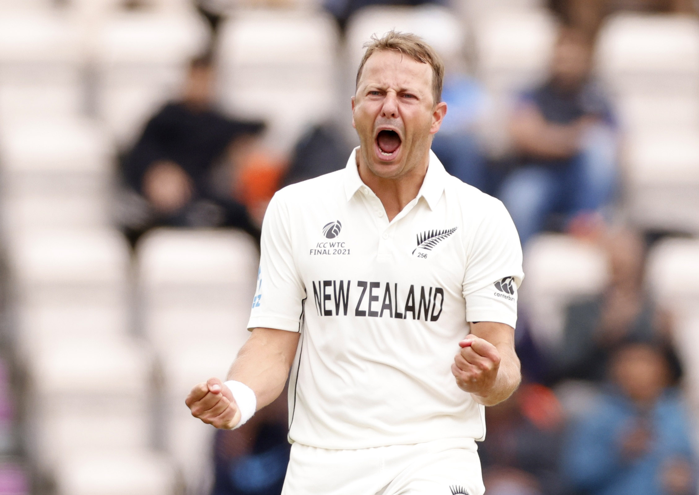 Cricket - ICC World Test Championship Final - India v New Zealand - Rose Bowl, Southampton, Britain - June 20, 2021 New Zealand's Neil Wagner celebrates after taking the wicket of India's Ajinkya Rahane Action Images via Reuters/John Sibley
