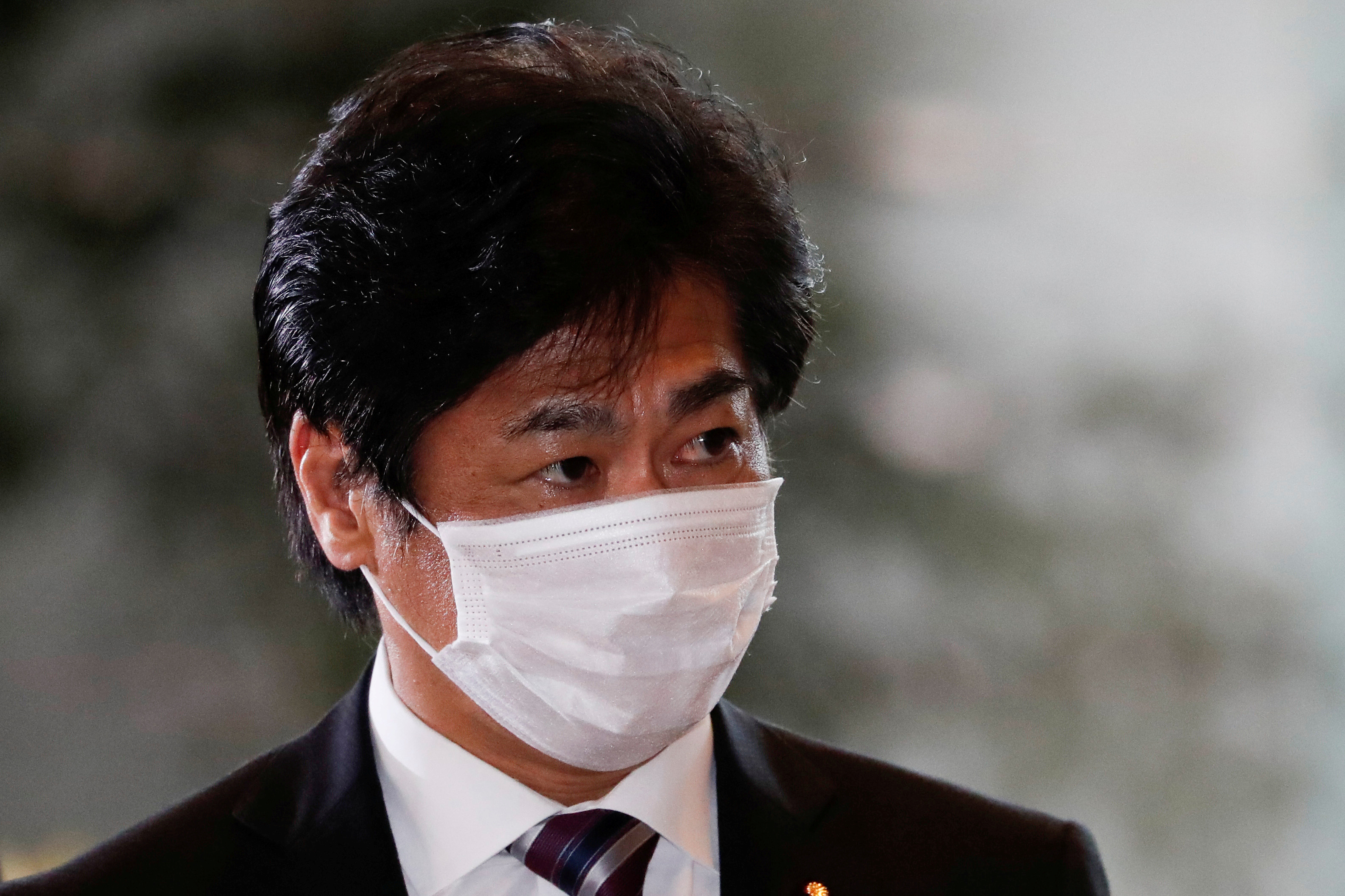 Japan's Health, Labor and Welfare Minister Norihisa Tamura arrives at Prime Minister Yoshihide Suga's official residence in Tokyo, Japan September 16, 2020. REUTERS/Issei Kato  REFILE  CORRECTING IDENTITY