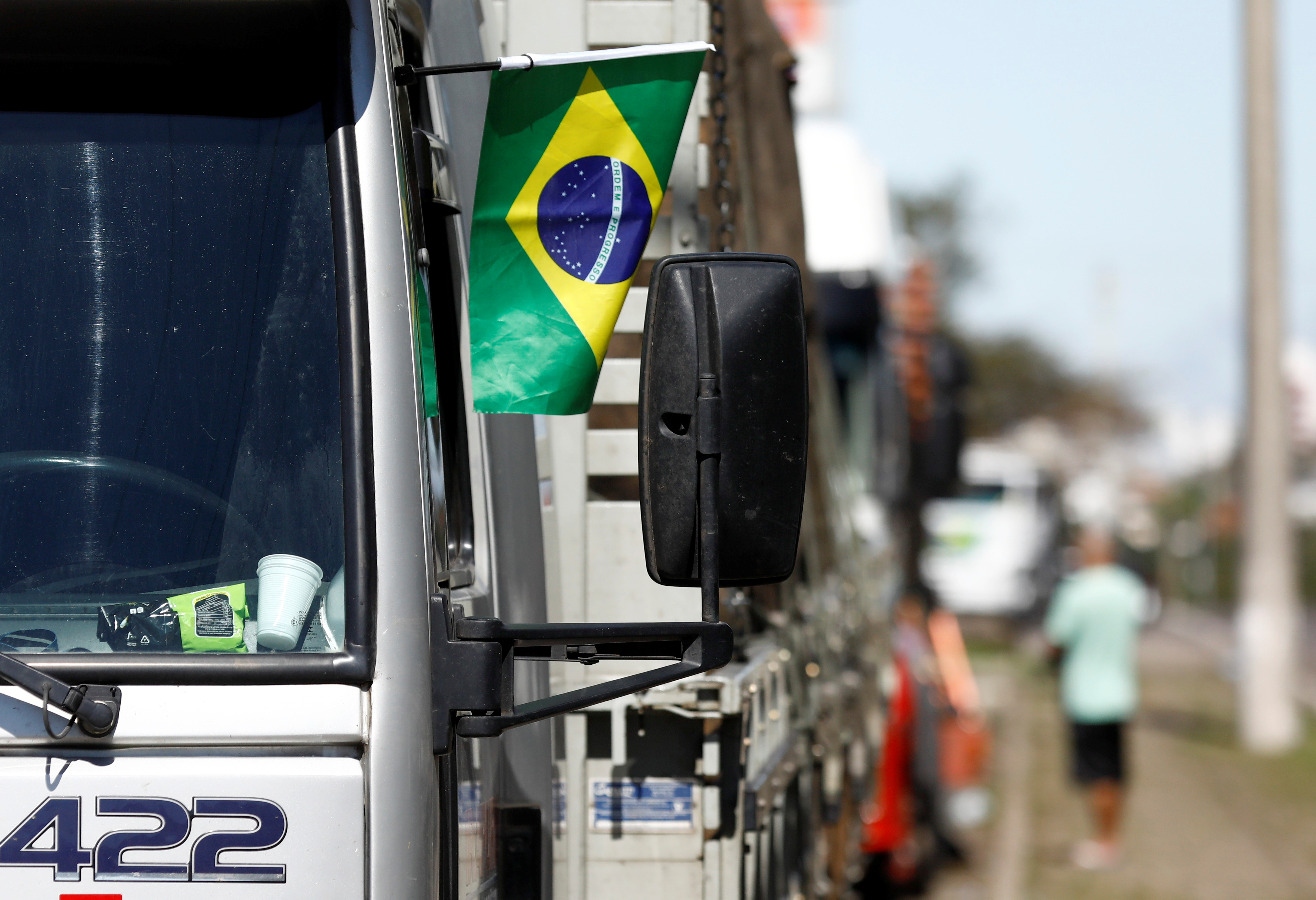 Truckers attend a protest on the BR-101 highway in support of Brazil's President Jair Bolsonaro in Osorio, Rio Grande do Sul state, Brazil, September 9, 2021. REUTERS/Diego Vara