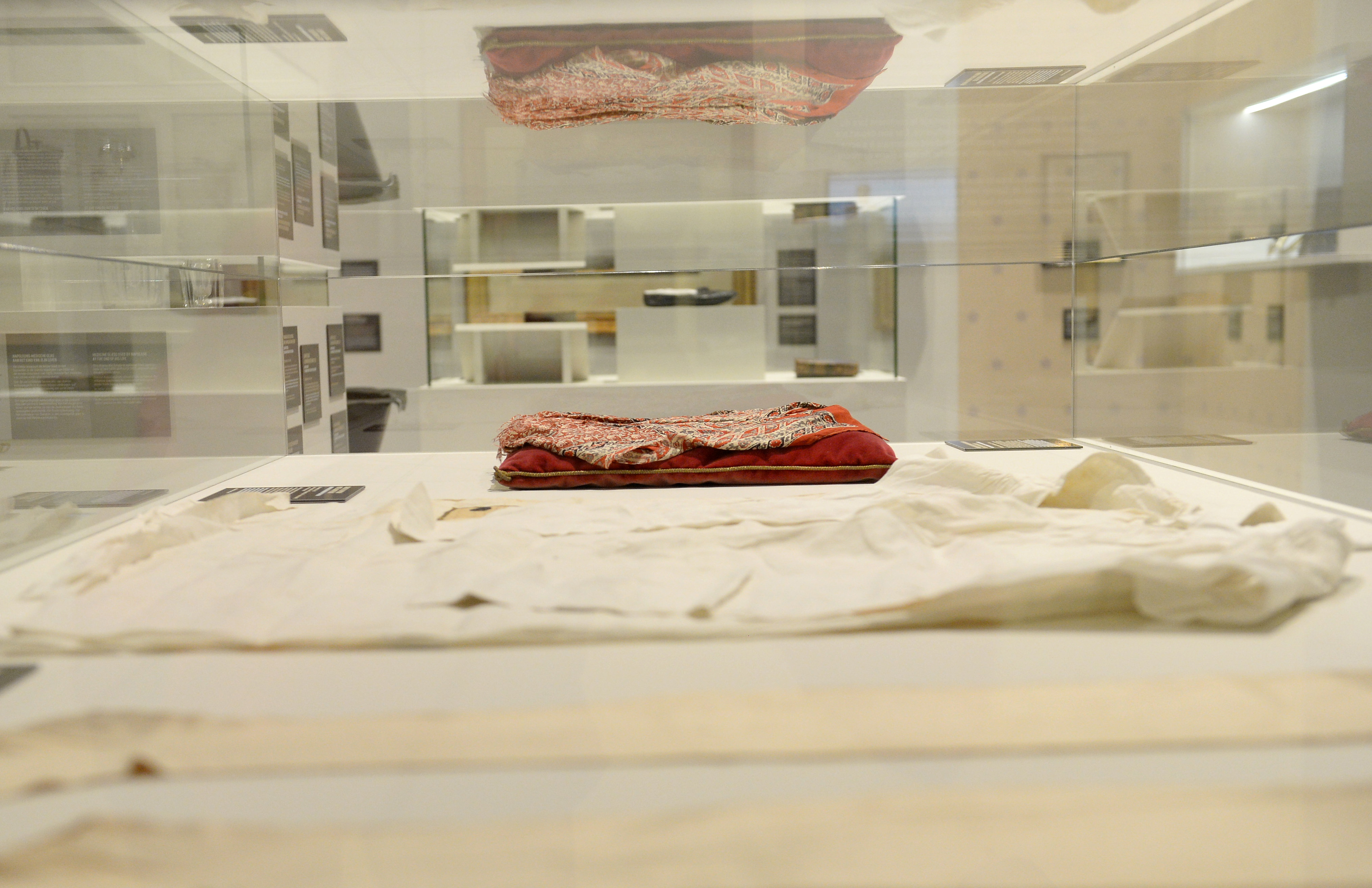 A Madras and the shirt worn by Napoleon on St Helena are displayed at Waterloo Battlefield Museum in Braine-L'Alleud, before being put on auction by Bonhams for the bicentenary of Napoleon's death, Belgium, May 11, 2021. REUTERS/Johanna Geron