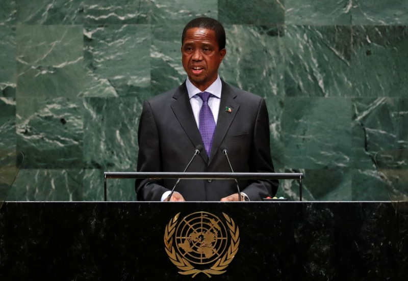 Zambia's President Edgar Chagwa Lungu addresses the 74th session of the United Nations General Assembly at U.N. headquarters in New York City, New York, U.S., September 25, 2019. REUTERS/Lucas Jackson/File Photo