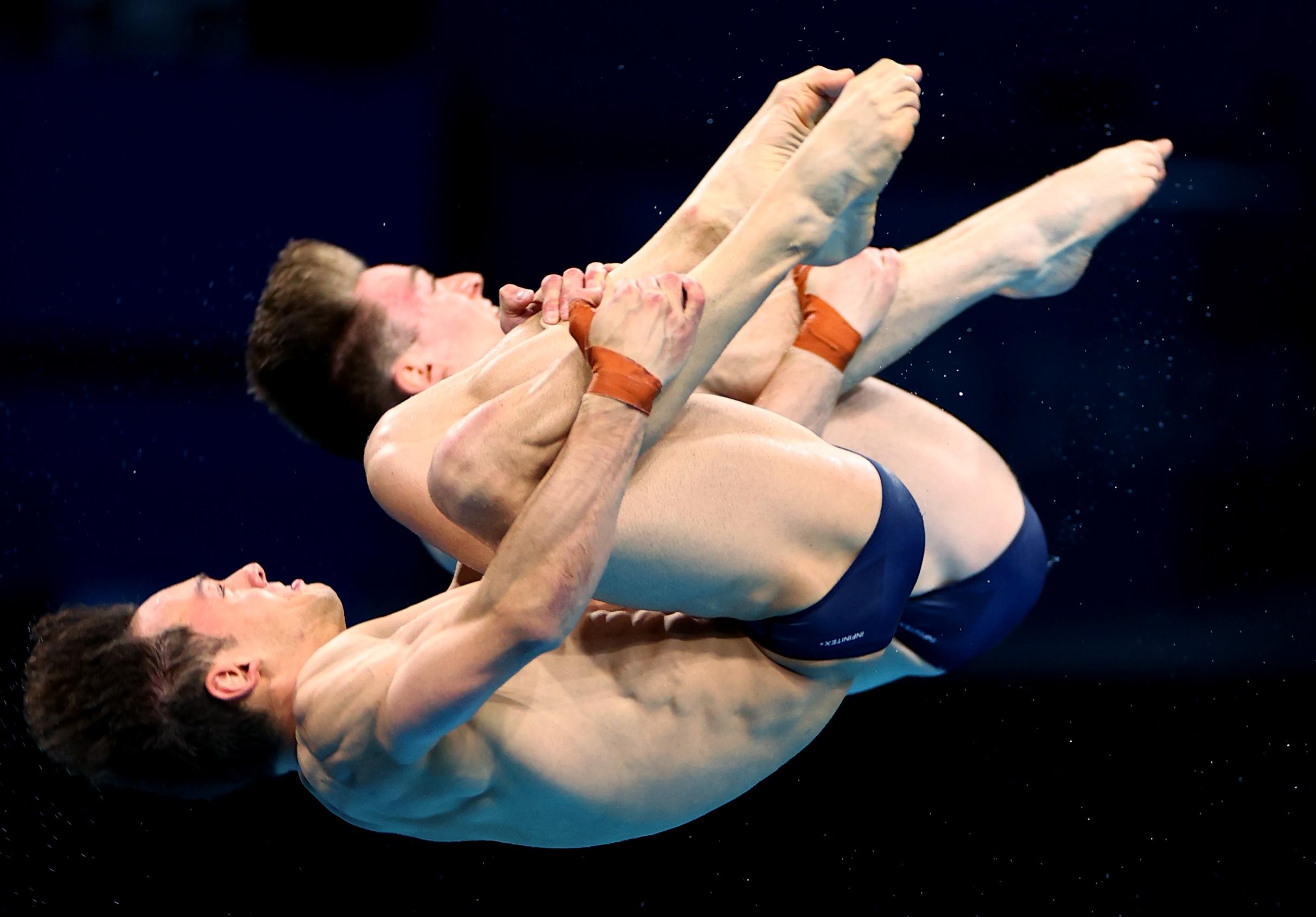 Tokyo 2020 Olympics - Diving - Men's 10m Platform Synchro - Final - Tokyo Aquatics Centre, Tokyo, Japan July 26, 2021. Thomas Daley of Britain and Matty Lee of Britain in action REUTERS/Marko Djurica