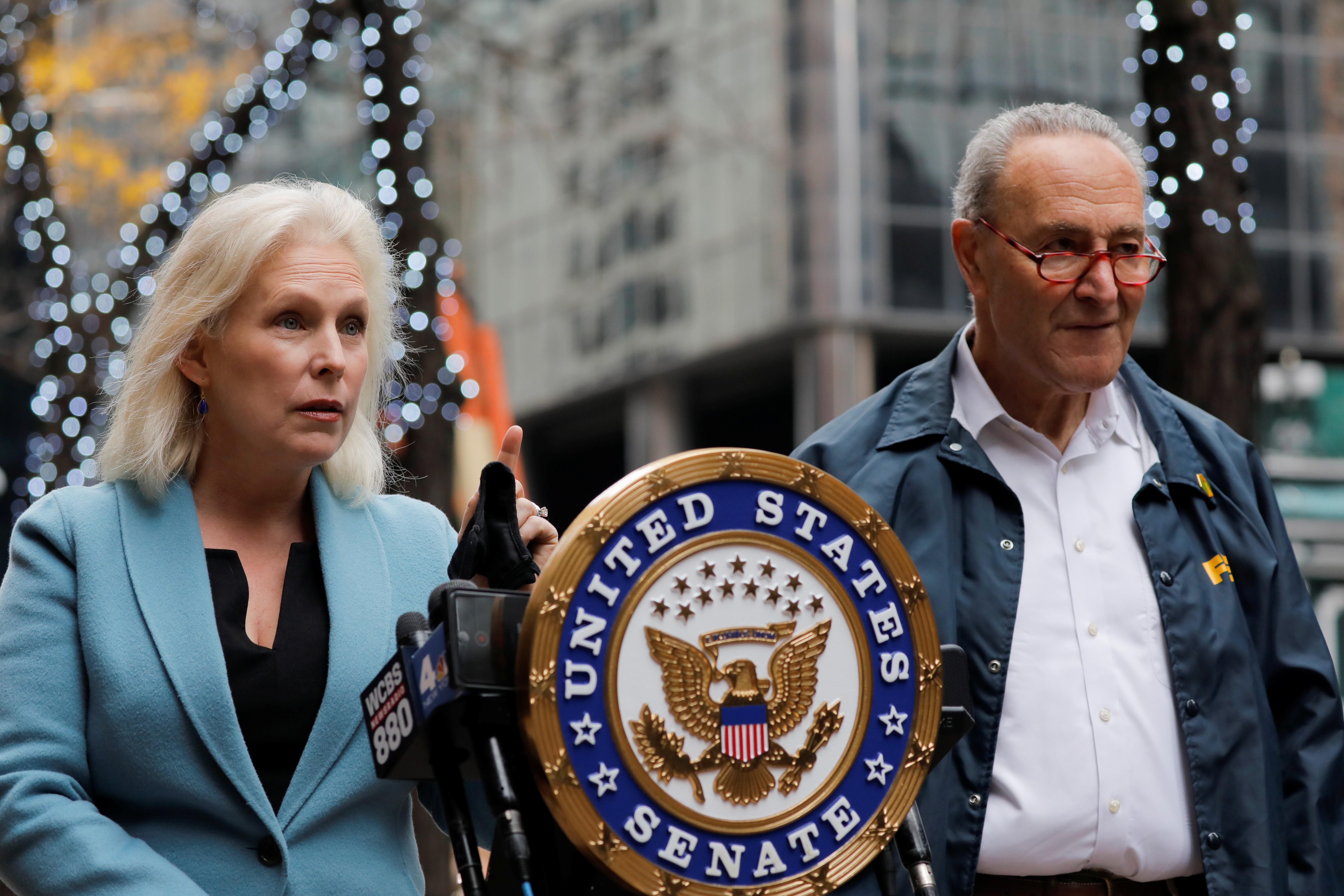 U.S. Senator Chuck Schumer and U.S Senator Kirsten Gillibrand deliver remarks on the coronavirus disease (COVID-19) in Manhattan, New York City, U.S., November 15, 2020.  REUTERS/Andrew Kelly