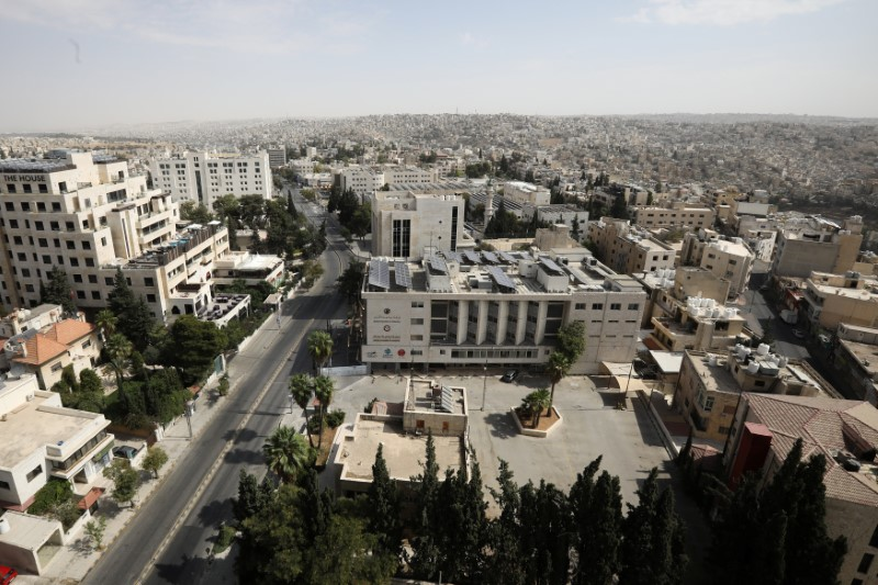 General view showing empty streets, during the nationwide curfew for two days, amid fears of a rising number of coronavirus disease (COVID-19) cases in Amman, Jordan October 9, 2020. REUTERS/Muhammad Hamed