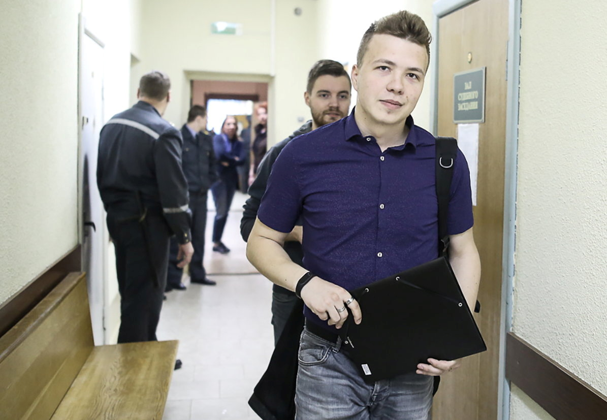 Opposition blogger and activist Roman Protasevich, who is accused of participating in an unsanctioned protest at the Kuropaty preserve, arrives for a court hearing in Minsk, Belarus April 10, 2017. Picture taken April 10, 2017. REUTERS/Stringer