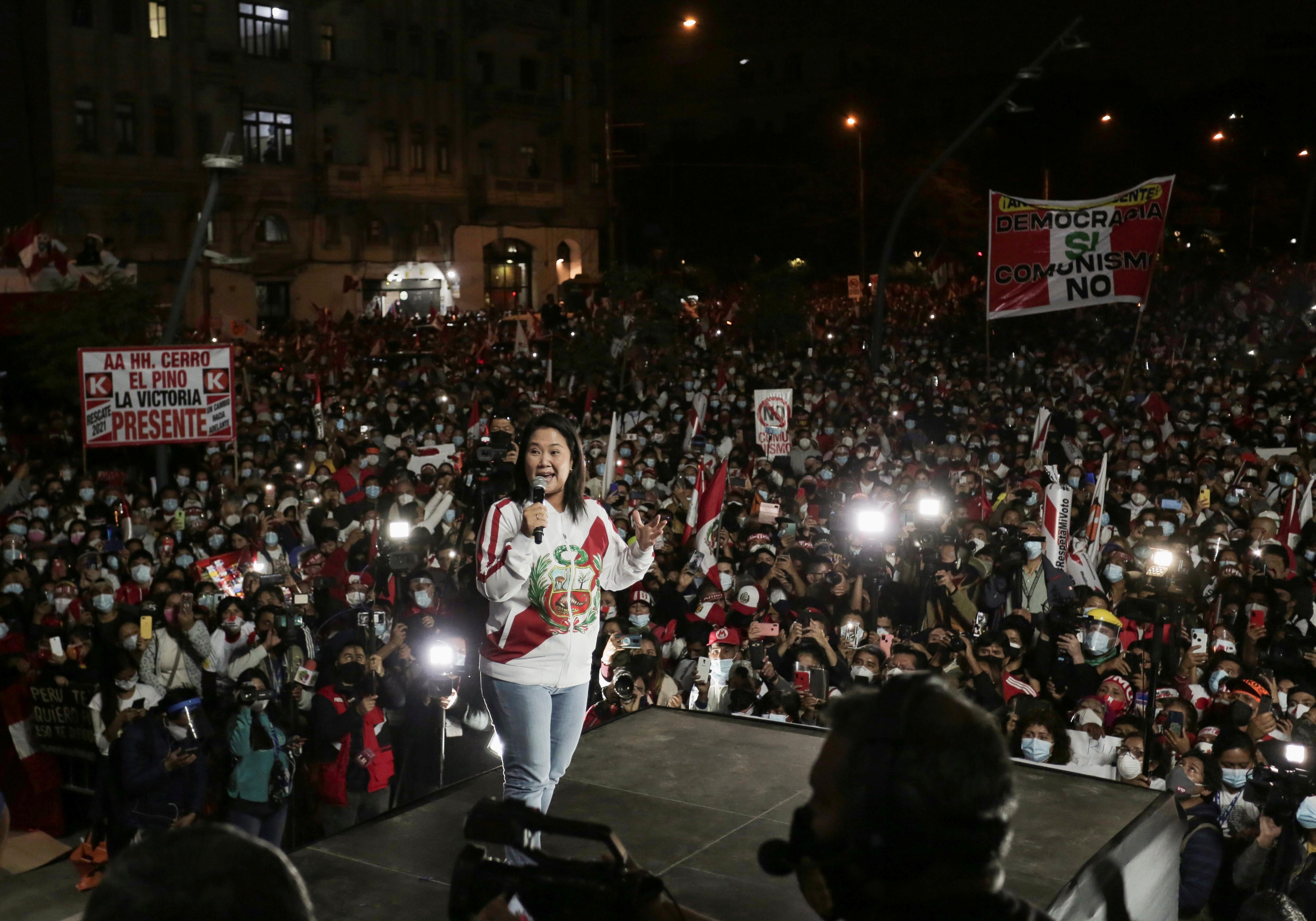 Peru's presidential candidate Keiko Fujimori addresses supporters in Lima, Peru June 19, 2021. REUTERS/Gerardo Marin