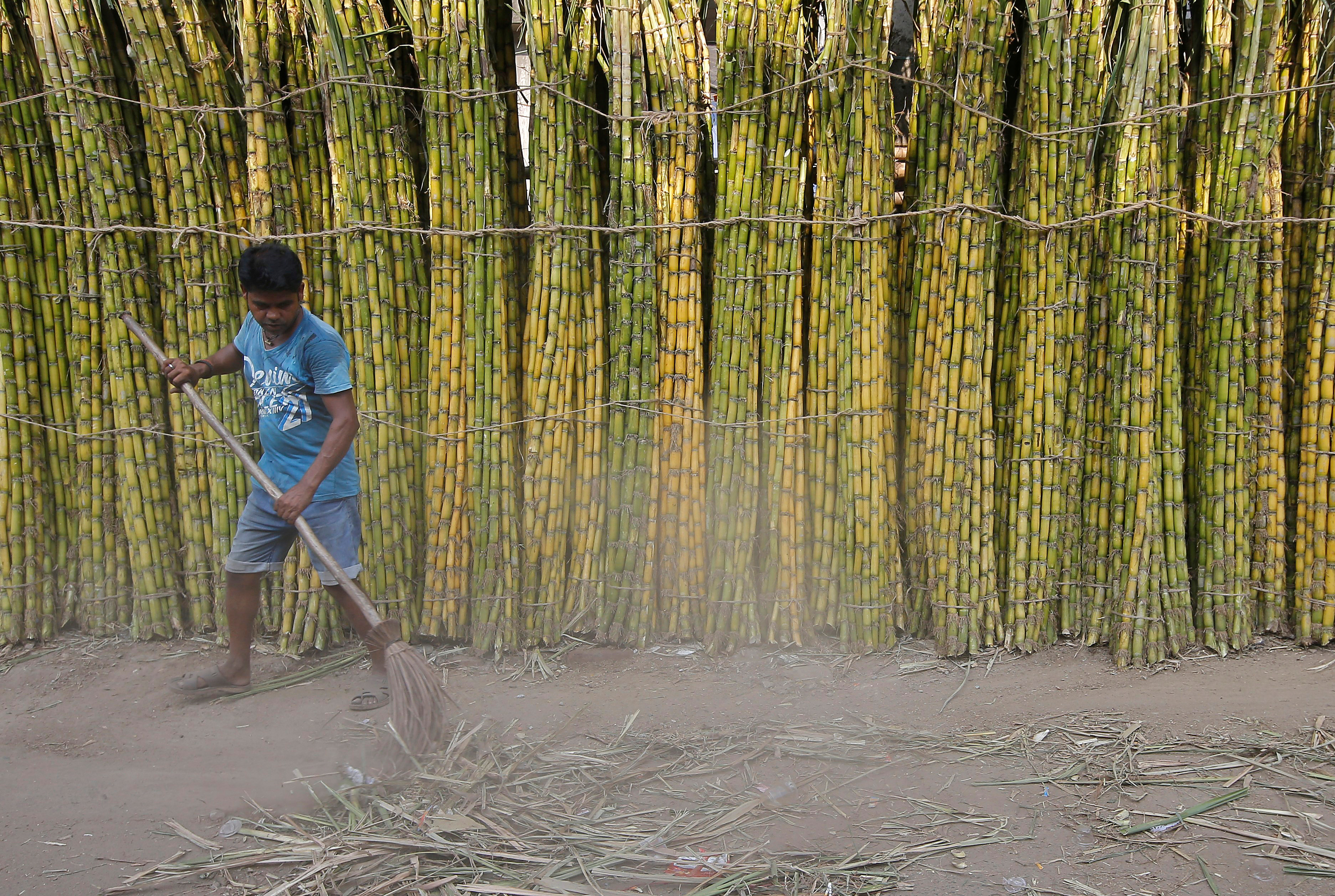 A sweeper cleans a road in front of sugarcane displayed for sale at a wholesale market in Kolkata, India, October 9, 2018. REUTERS/Rupak De Chowdhuri/Files