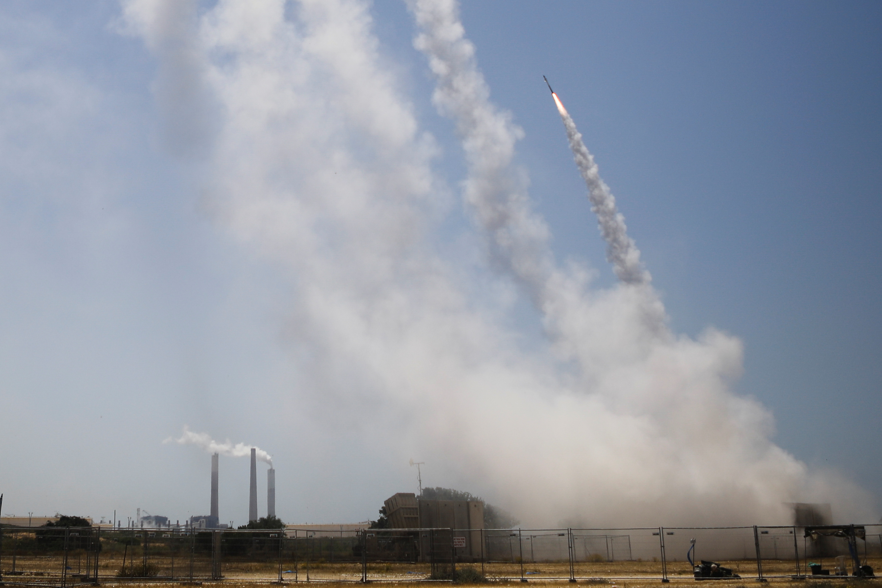 Israel's Iron Dome anti-missile system intercepts rockets launched from the Gaza Strip, as seen from Ashkelon, southern Israel May 11, 2021. REUTERS/Nir Elias