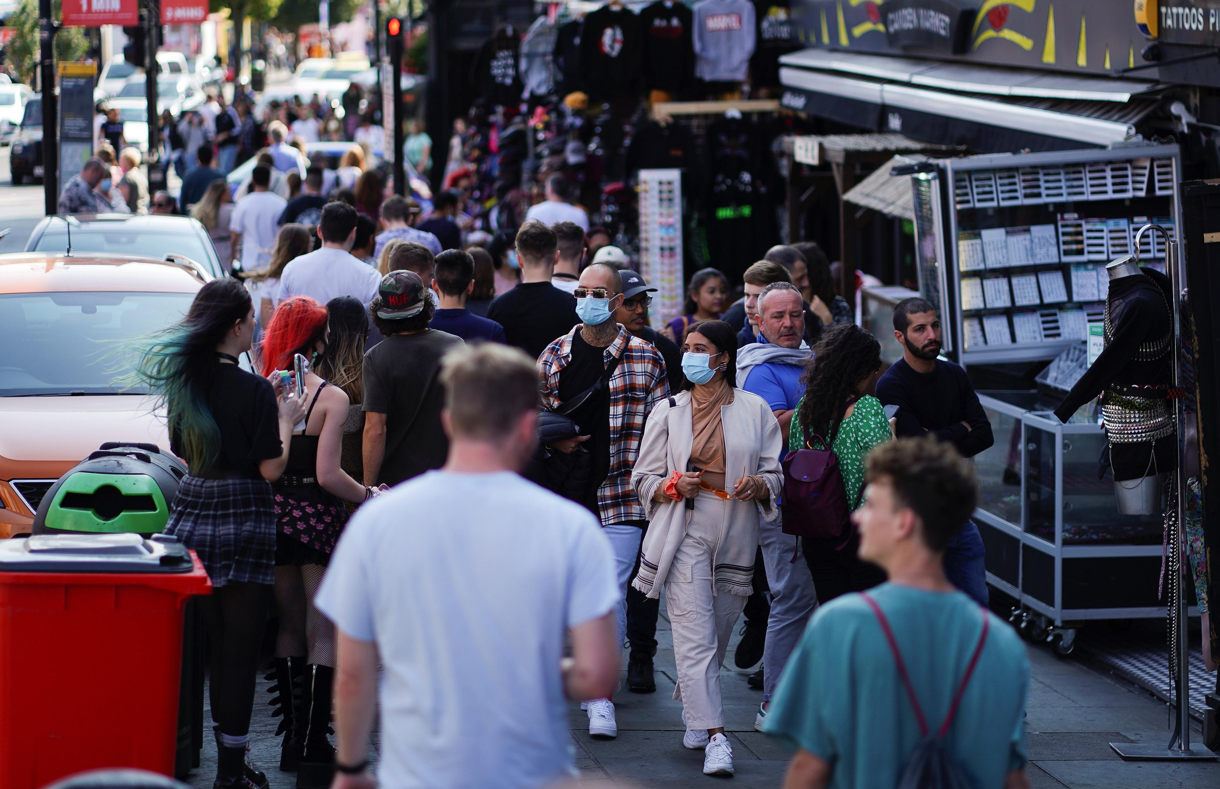 People walk along Camden High Street in London, Britain, September 19, 2020. REUTERS/Henry Nicholls