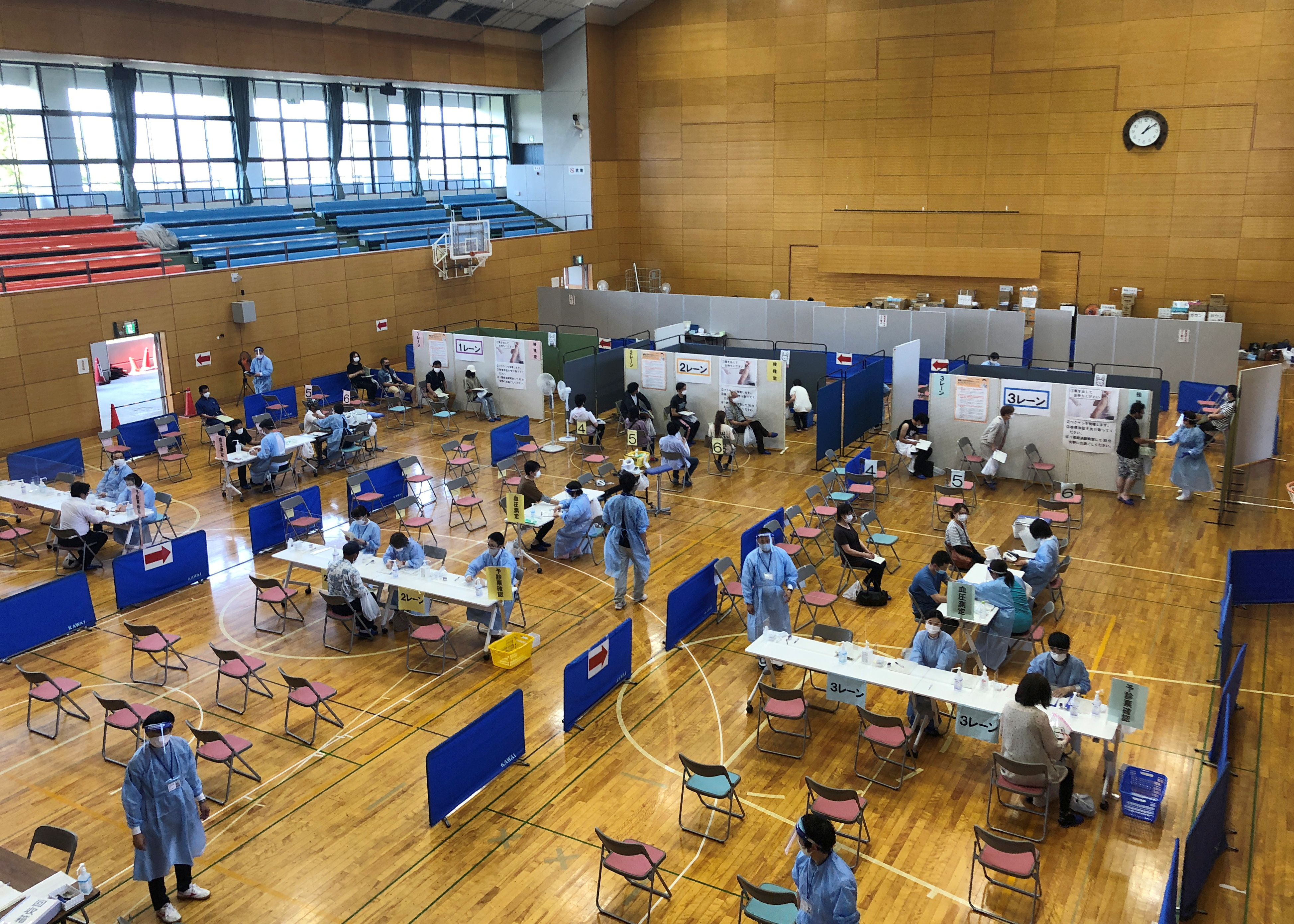 A gymnasium which turned into a mass vaccination centre for the elderly is pictured in Soma, Fukushima Prefecture, Japan, June 9, 2021. REUTERS/Rocky Swift