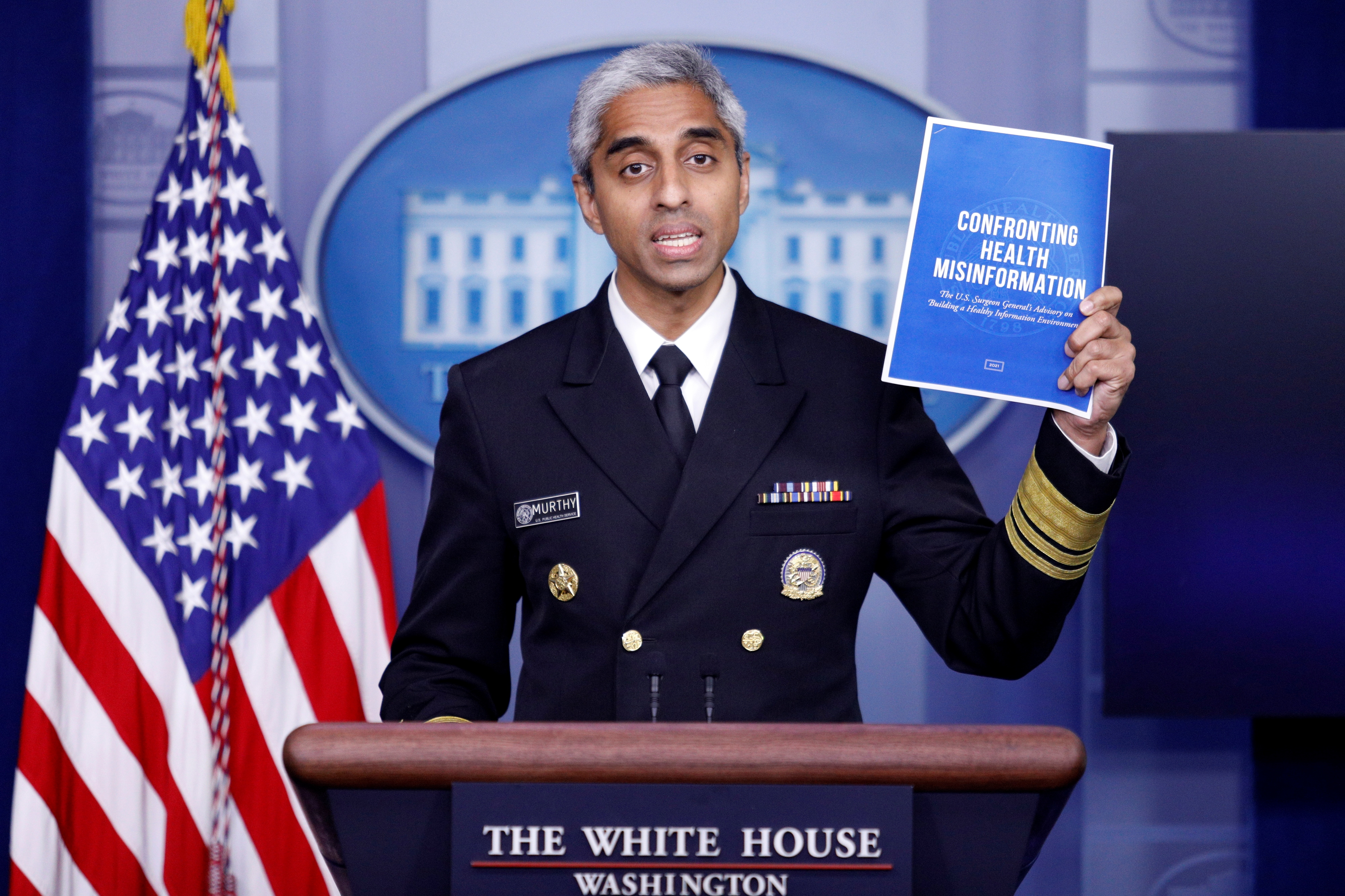 United States Surgeon General Vivek Murthy delivers remarks during a news conference with White House Press Secretary Jen Psaki at the White House in Washington, U.S., July15, 2021. REUTERS/Tom Brenner
