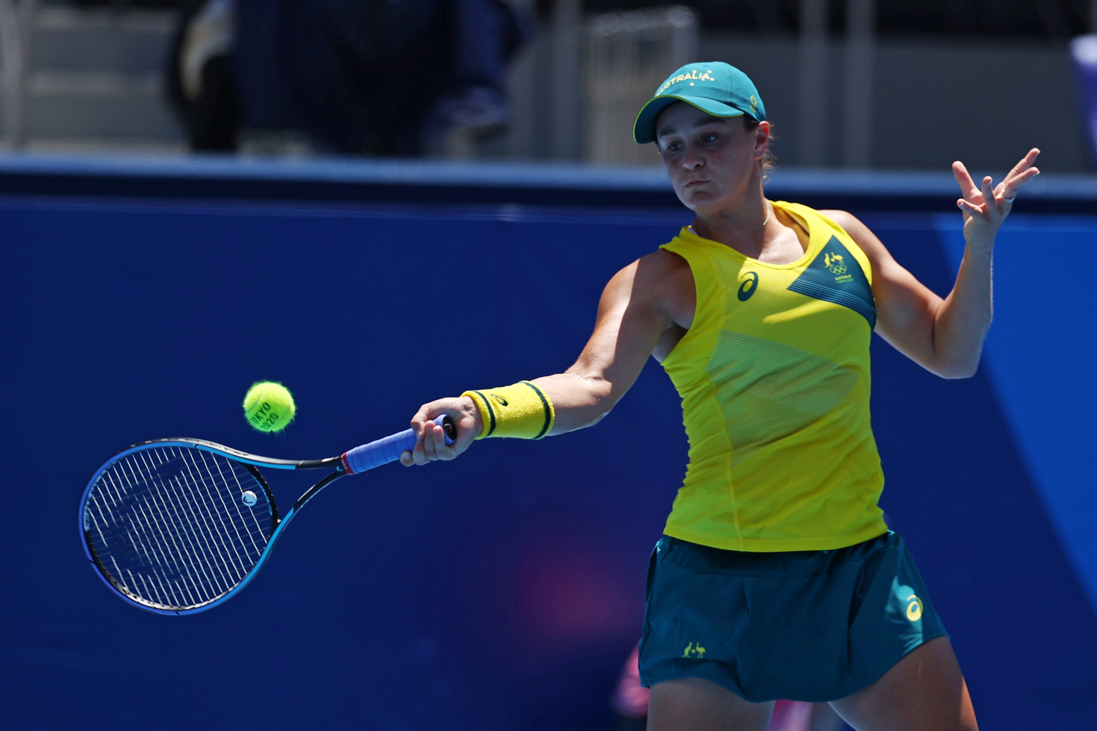 Tokyo 2020 Olympics - Tennis - Women's Singles - Round 1 - Ariake Tennis Park - Tokyo, Japan - July 25, 2021. Ashleigh Barty of Australia in action during her first round match against Sara Sorribes of Spain REUTERS/Edgar Su