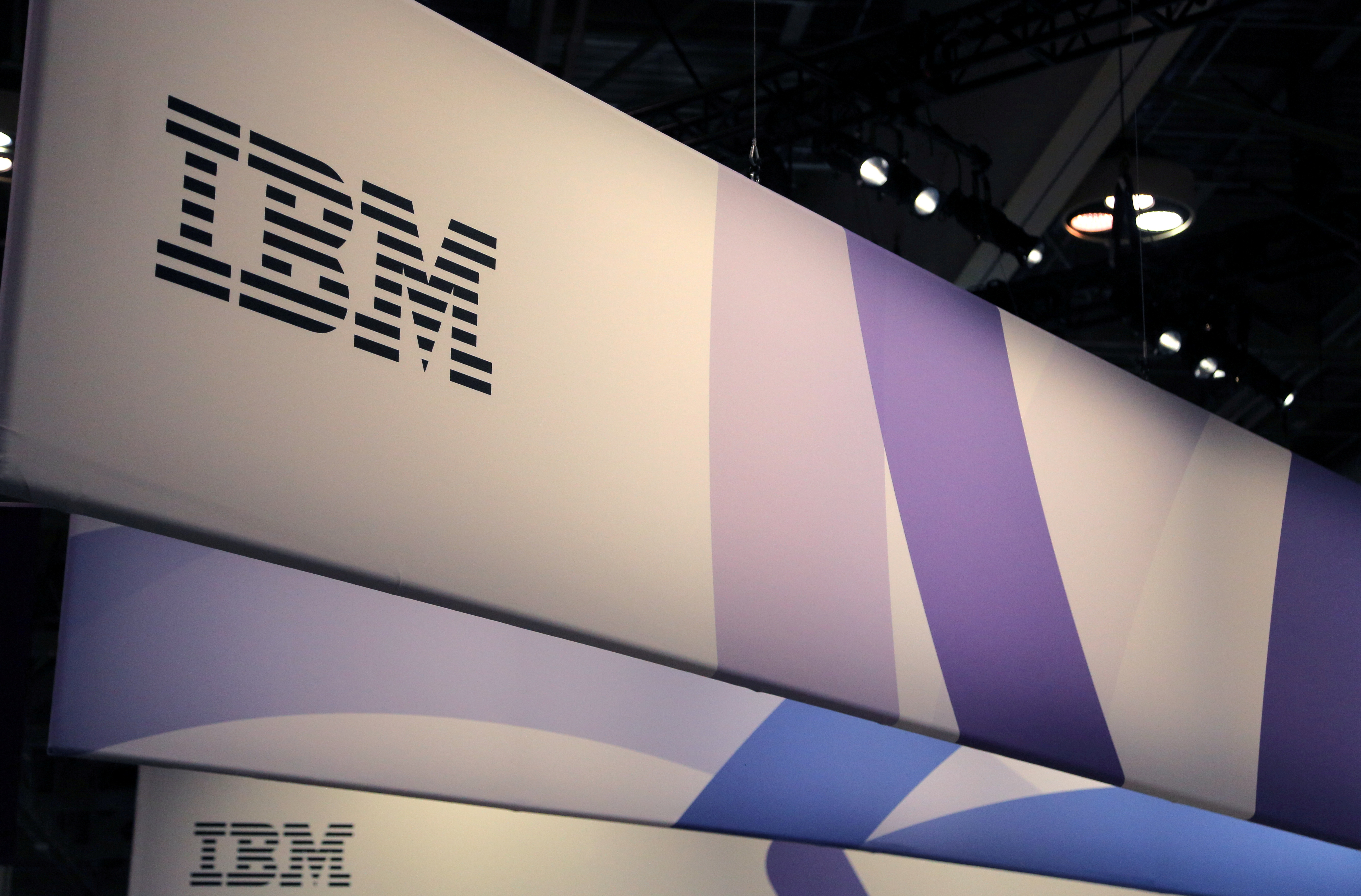 The logo for IBM is seen at the SIBOS banking and financial conference in Toronto, Ontario, Canada October 19, 2017.   REUTERS/Chris Helgren