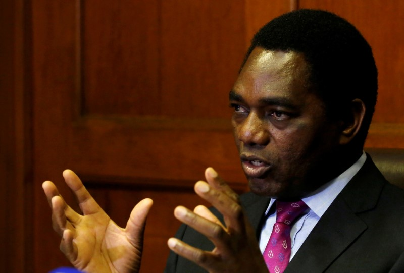 Hakainde Hichilema, leader of Zambia's opposition United Party for National Development (UPND), addresses a media conference in Cape Town, South Africa, August 31, 2017. REUTERS/Mike Hutchings/File Photo