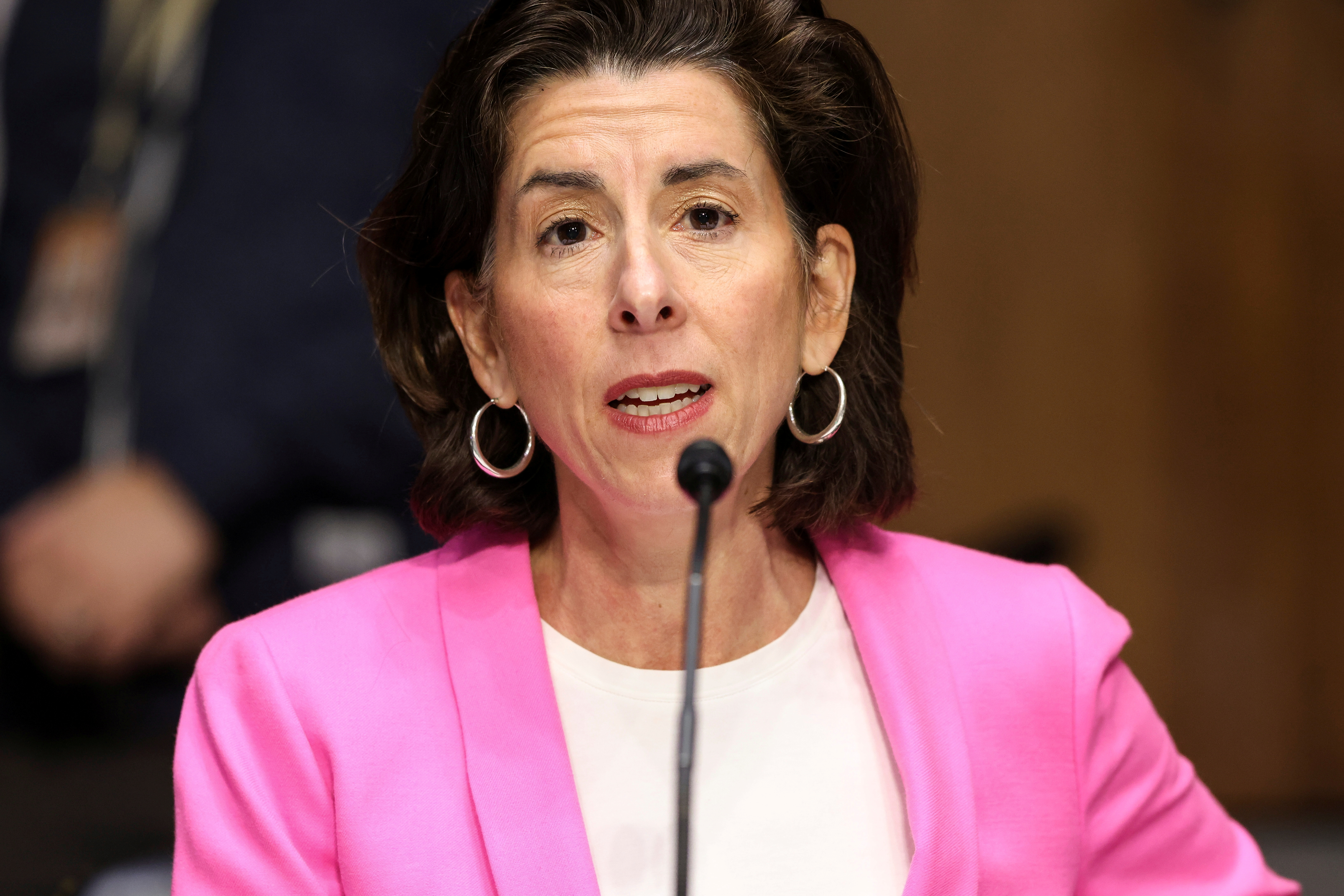 Commerce Secretary Gina Raimondo testifies before a Senate Appropriations Committee hearing to examine the American Jobs Plan, on Capitol Hill in Washington, D.C., U.S., April 20, 2021. Oliver Contreras/Pool via REUTERS