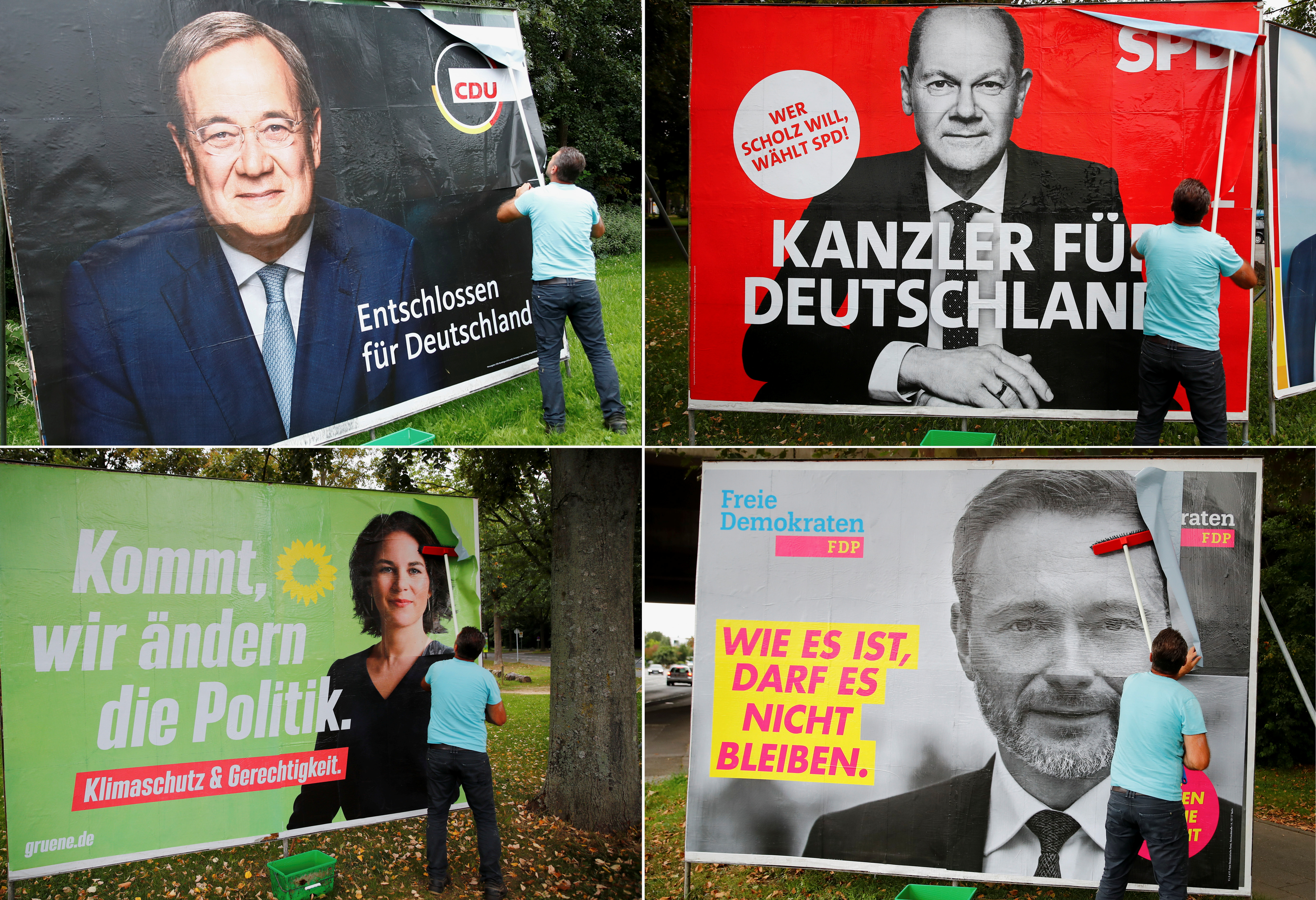 A combination of four images shows placards of Germany's top candidates for the September 26 German general elections being placed on large boards. The top row shows Armin Laschet of the Christian Democratic Union Party CDU and Olaf Scholz of Germany's Social Democratic Party SPD. The bottom row shows Greens Party candidate Annalena Baerbock and Christian Lindner of the Free Democratic Party FDP, in Bonn, Germany, September 20, 2021.  REUTERS/Wolfgang Rattay