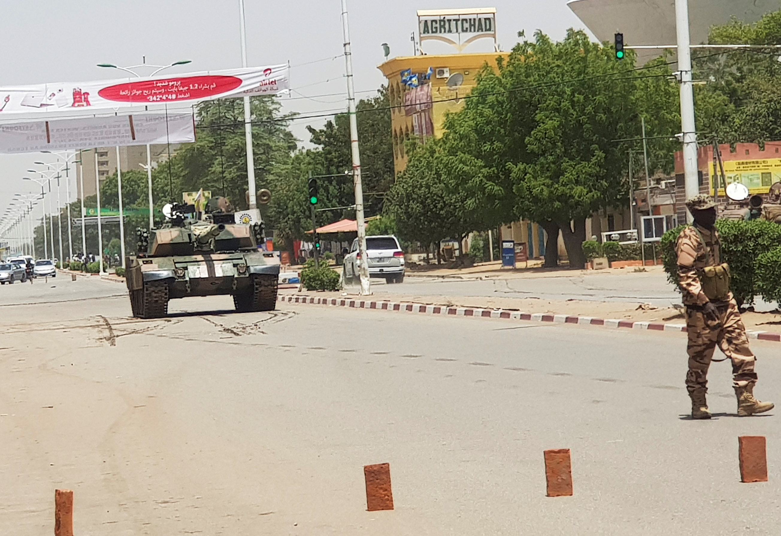 A Chad army tank is seen on the street, as fighters from the rebel Front for Change and Concord in Chad (FACT) appeared to be moving toward the capital according to the United States, in N'djamena, Chad April 19, 2021. REUTERS/Stringer