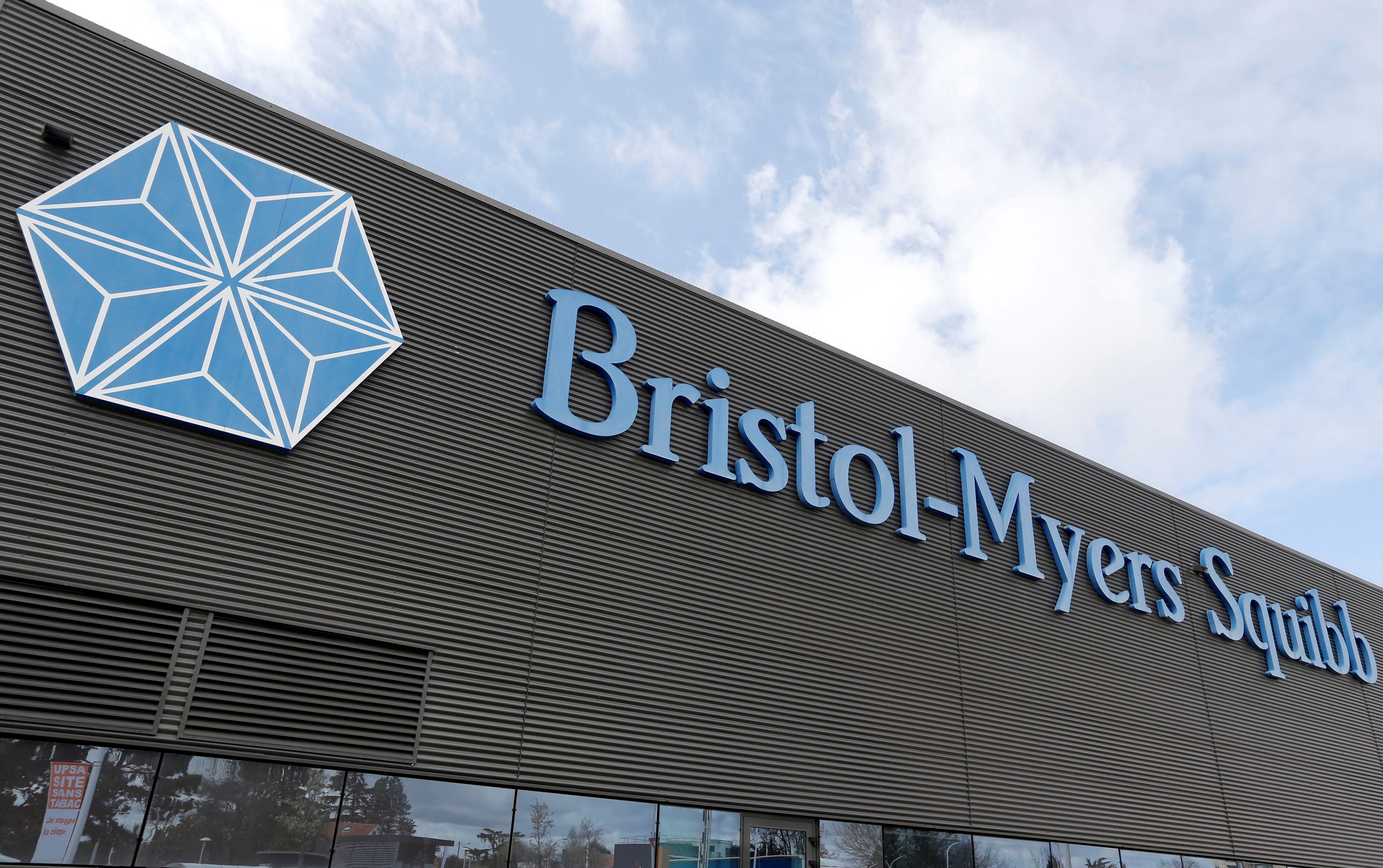 Logo of global biopharmaceutical company Bristol-Myers Squibb is pictured at the headquarters in Le Passage, near Agen, France March 29, 2018. REUTERS/Regis Duvignau/File Photo