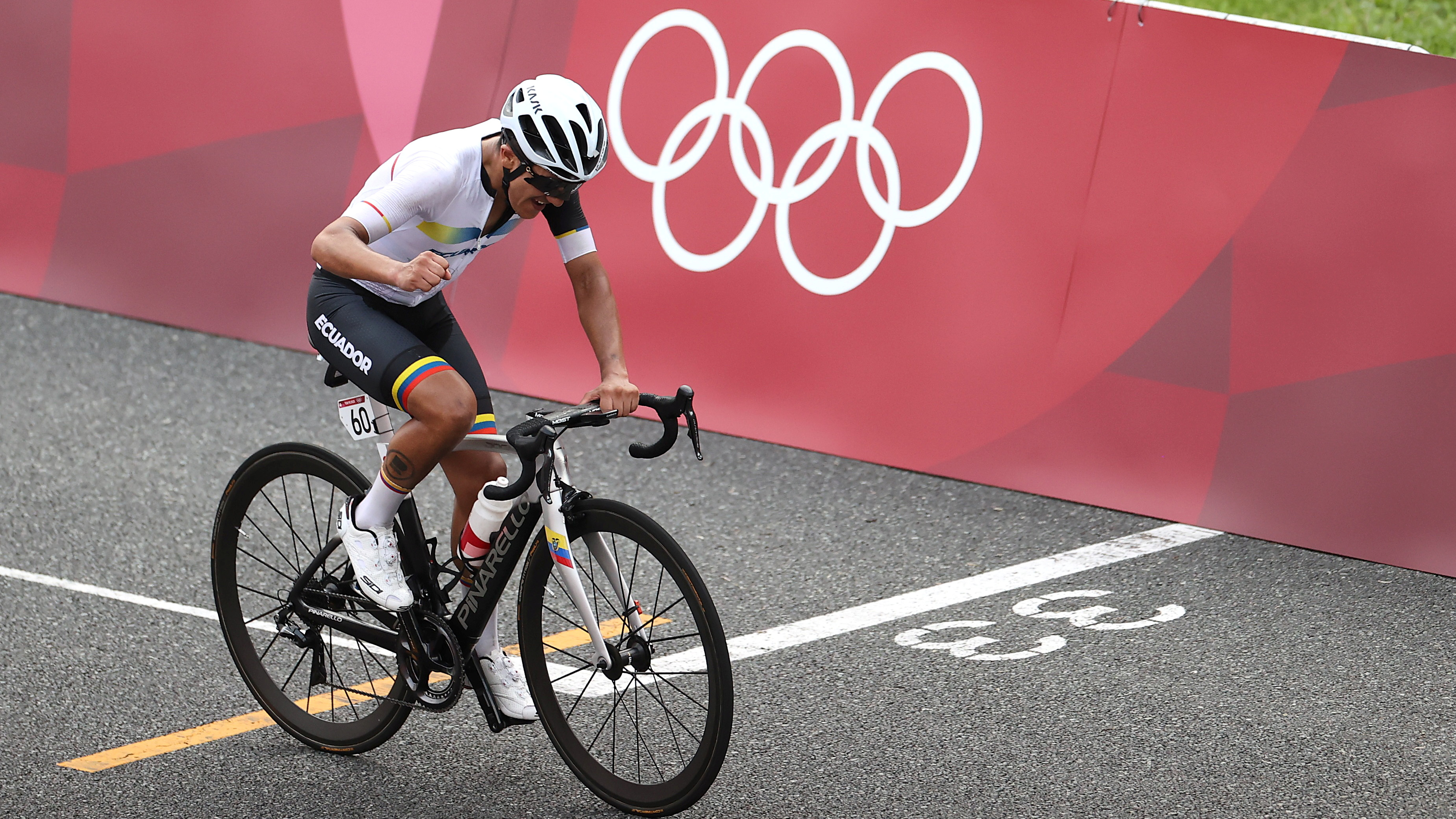 Tokyo 2020 Olympics - Cycling - Road - Men's Road Race - Final - Tokyo to Fuji International Speedway, Japan - July 24, 2021. Richard Carapaz of Ecuador celebrates winning gold. REUTERS/Christian Hartmann