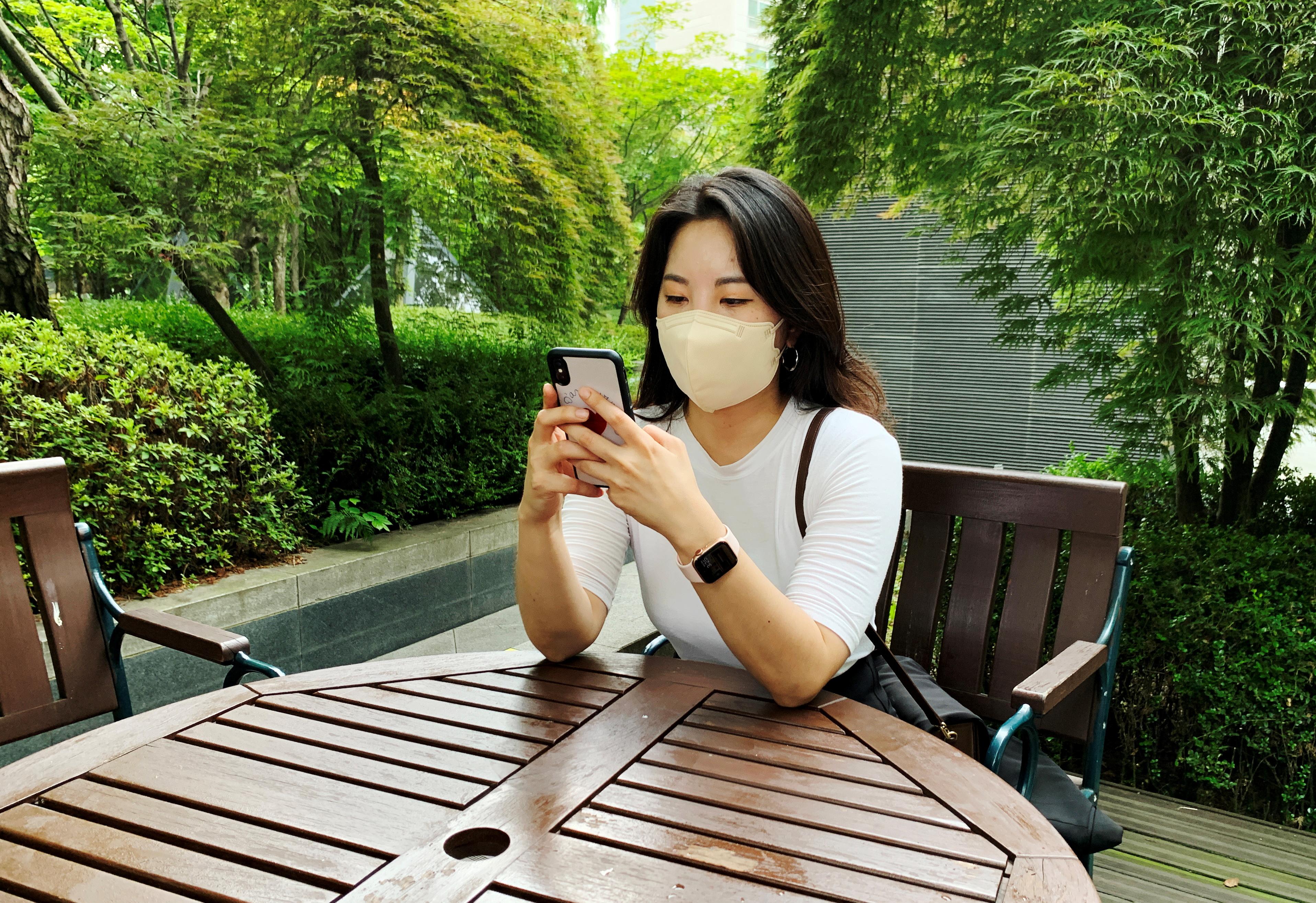 32-year-old graduate student Kim Hyun-jin tries to book a coronavirus disease (COVID-19) vaccination via online in Seoul, South Korea, July 15, 2021. REUTERS/Minwoo Park