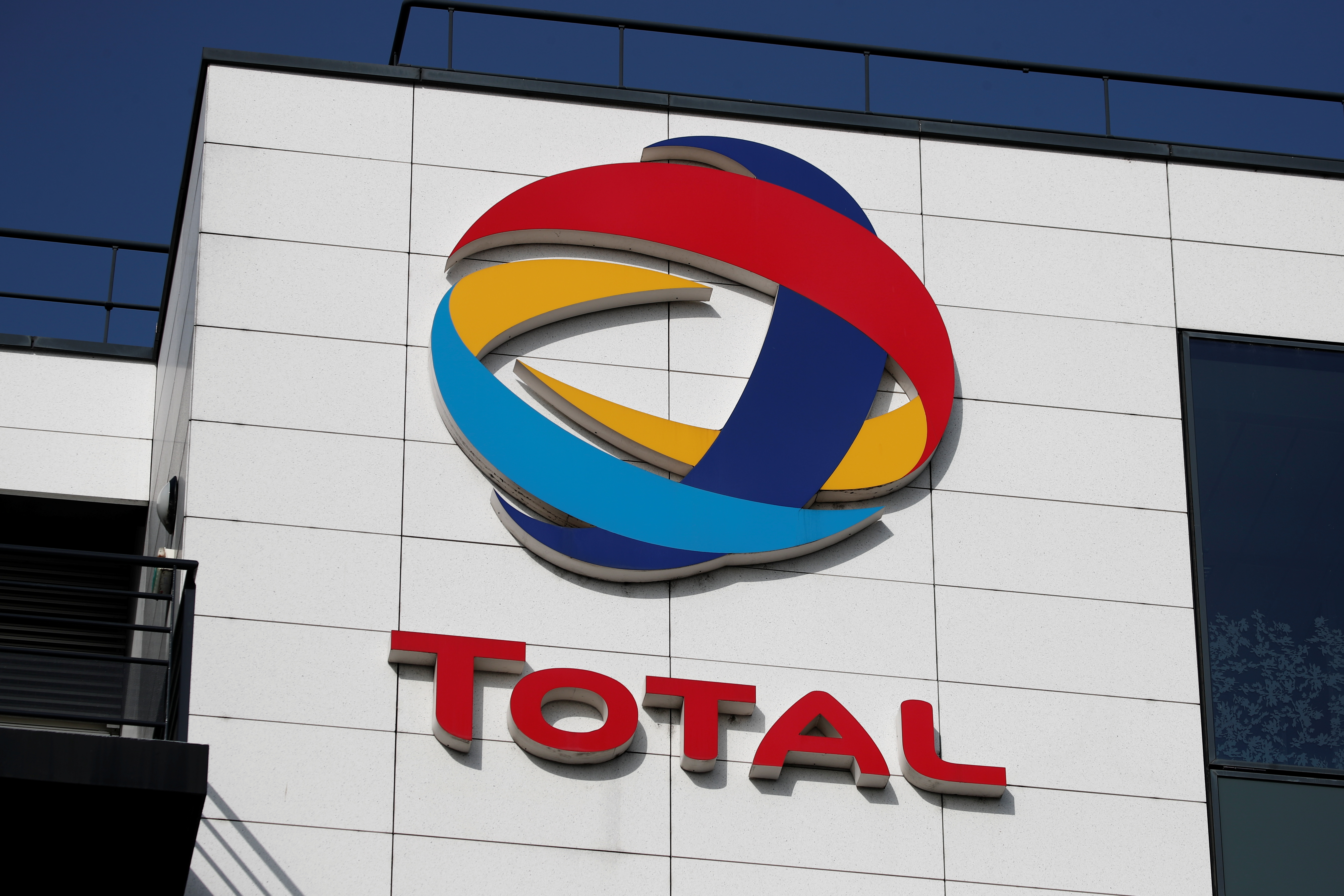 The logo of French oil and gas company Total is seen in Rueil-Malmaison, near Paris, France, March 2, 2021. REUTERS/Benoit Tessier