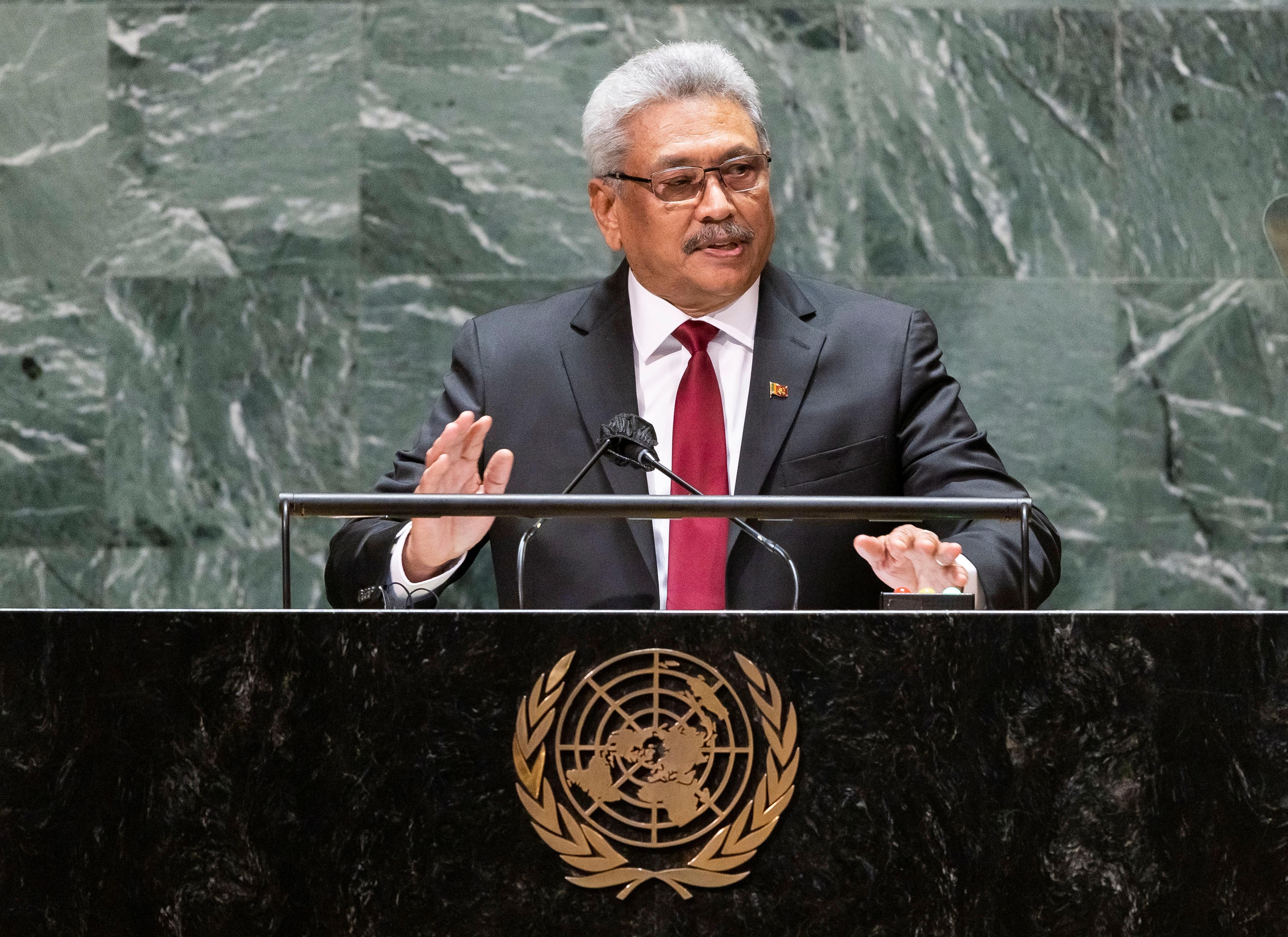 Sri Lanka's President Gotabaya Rajapaksa addresses the General Debate of the 76th Session of the United Nations General Assembly in New York City, U.S., September 22, 2021. Justin Lane/Pool via REUTERS