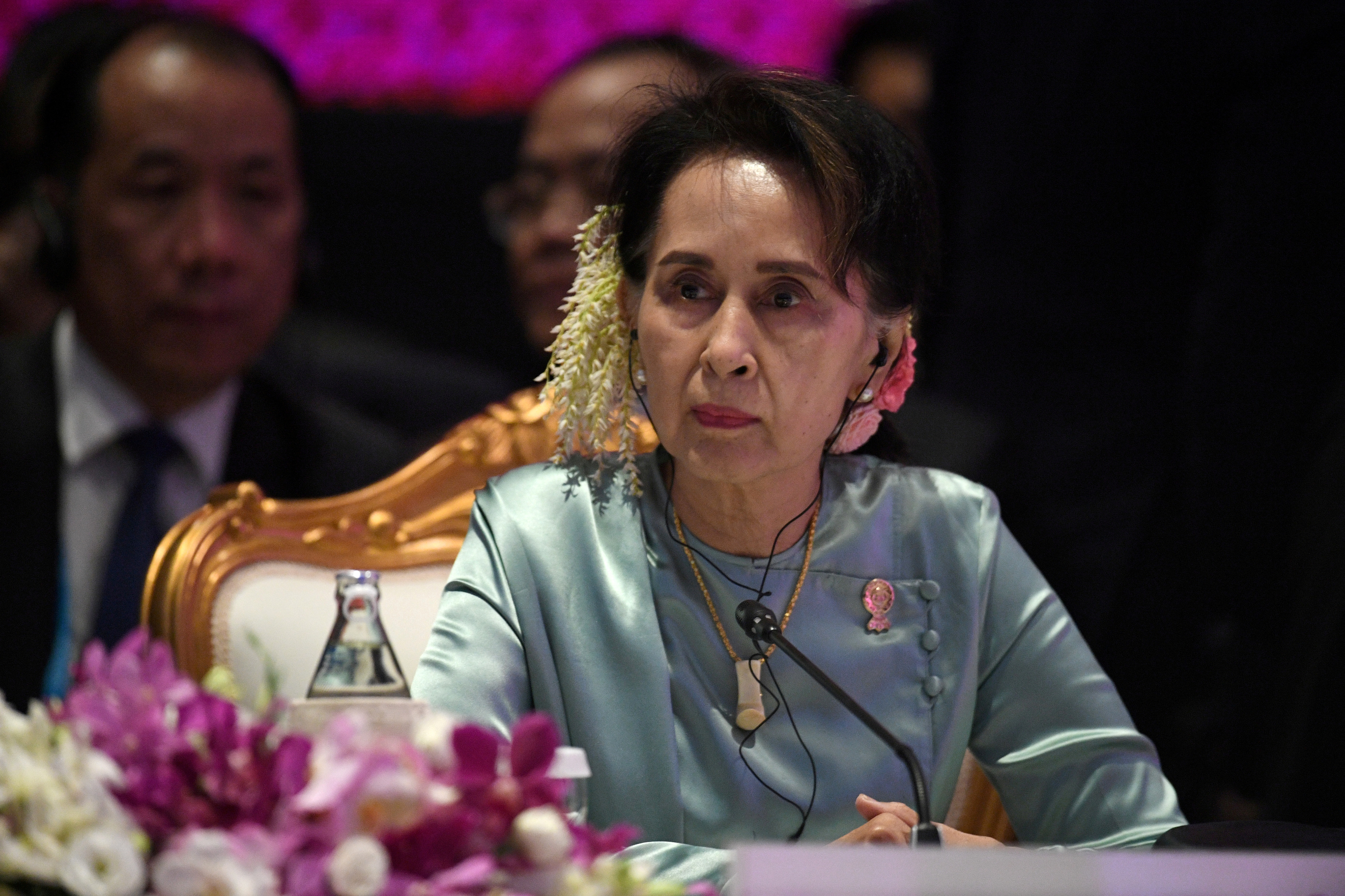 State Counsellor of Myanmar Aung San Suu Kyi attends the 22nd ASEAN Plus Three Summit in Bangkok, Thailand, November 4, 2019. REUTERS/Chalinee Thirasupa/File Photo/File Photo