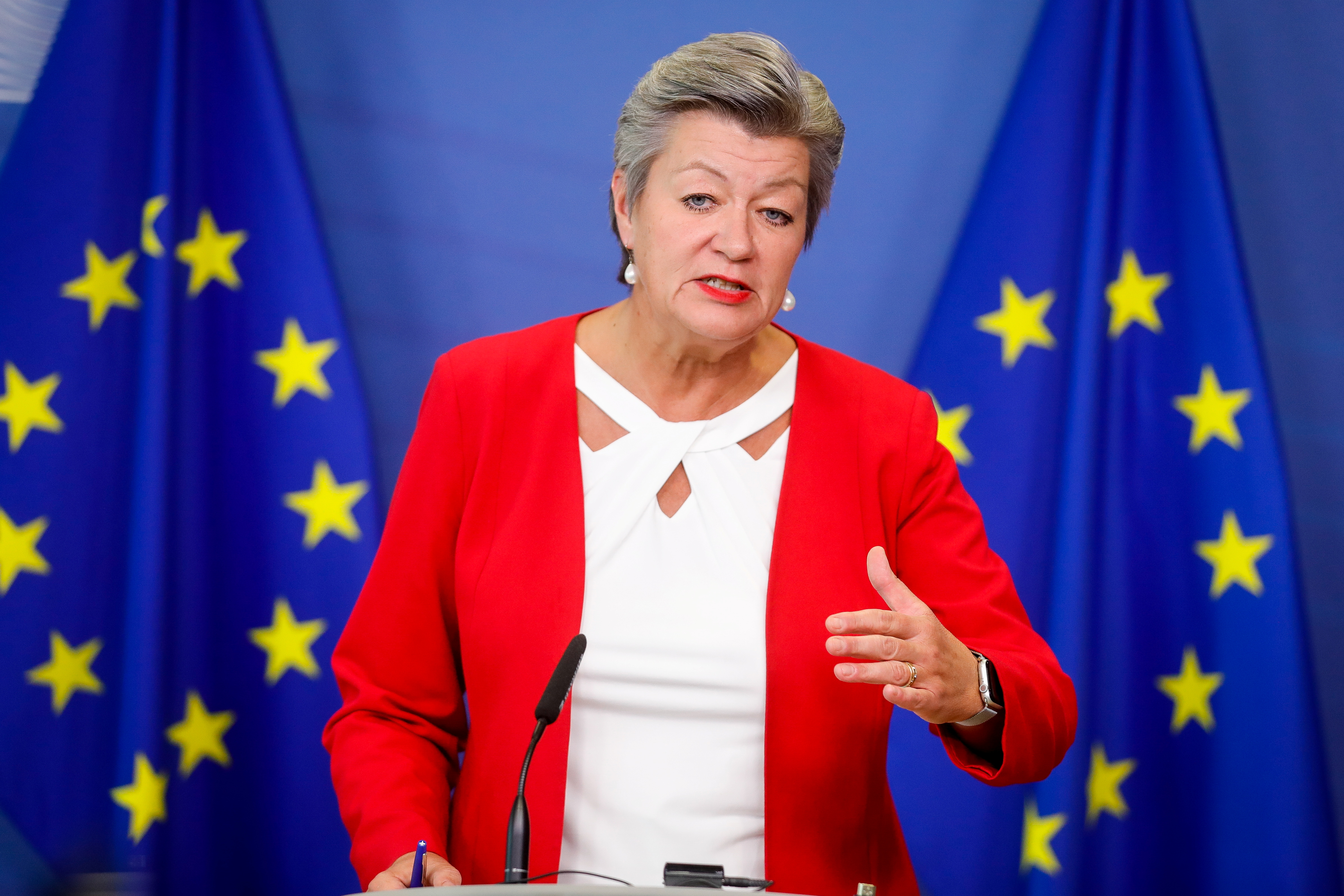 European Commissioner for Home Affairs, Ylva Johansson gives a news conference following the EU High-level Forum on providing protection to Afghans at risk, at the European Commission, in Brussels, Belgium, October 7, 2021. Stephanie Lecocq/Pool via REUTERS