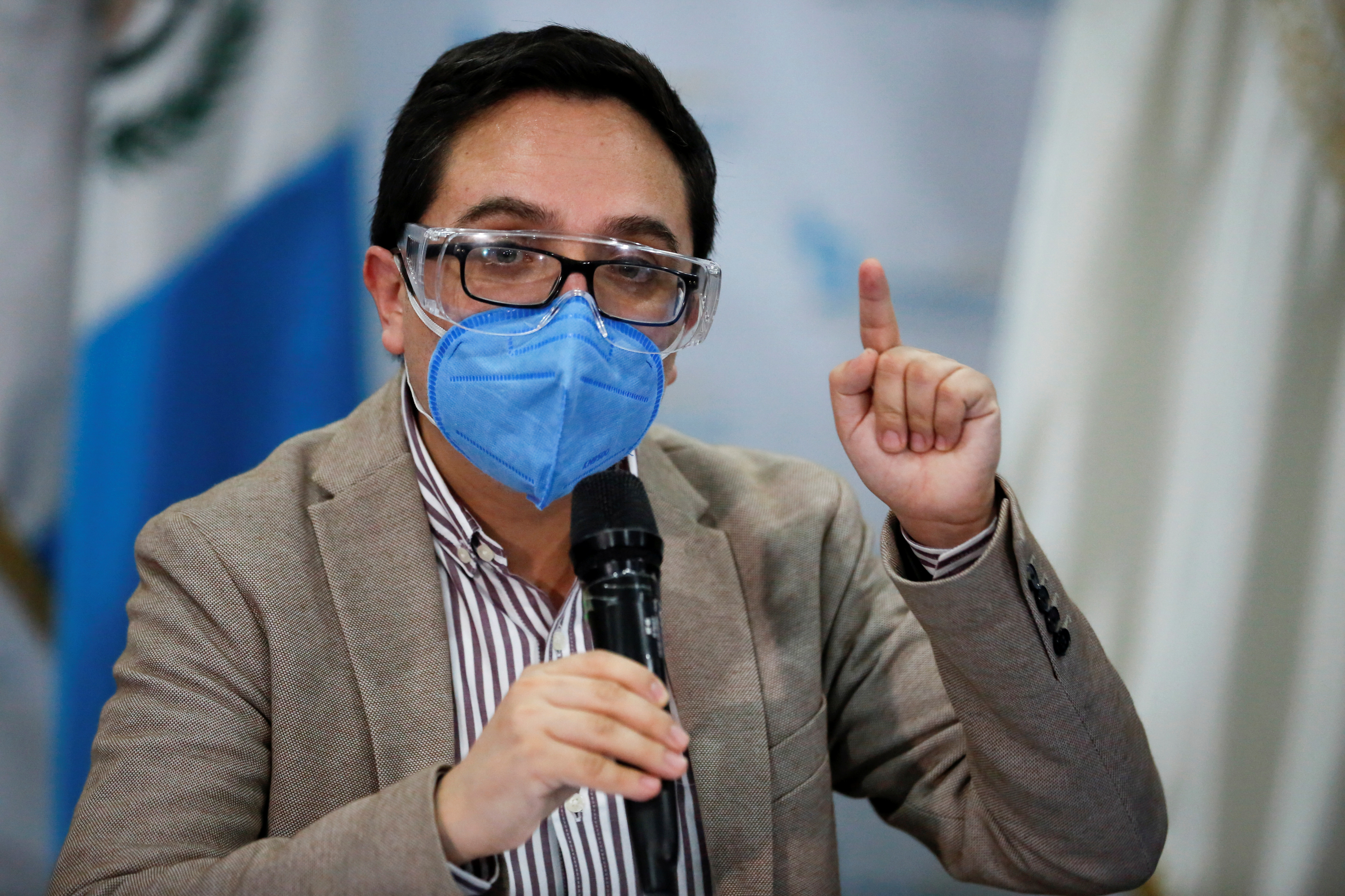 Juan Francisco Sandoval, who was removed by the Guatemala's Attorney General as head of the Special Prosecutor's Office Against Impunity (FECI), speaks during a news conference in Guatemala City, Guatemala July 23, 2021. REUTERS/Luis Echeverria