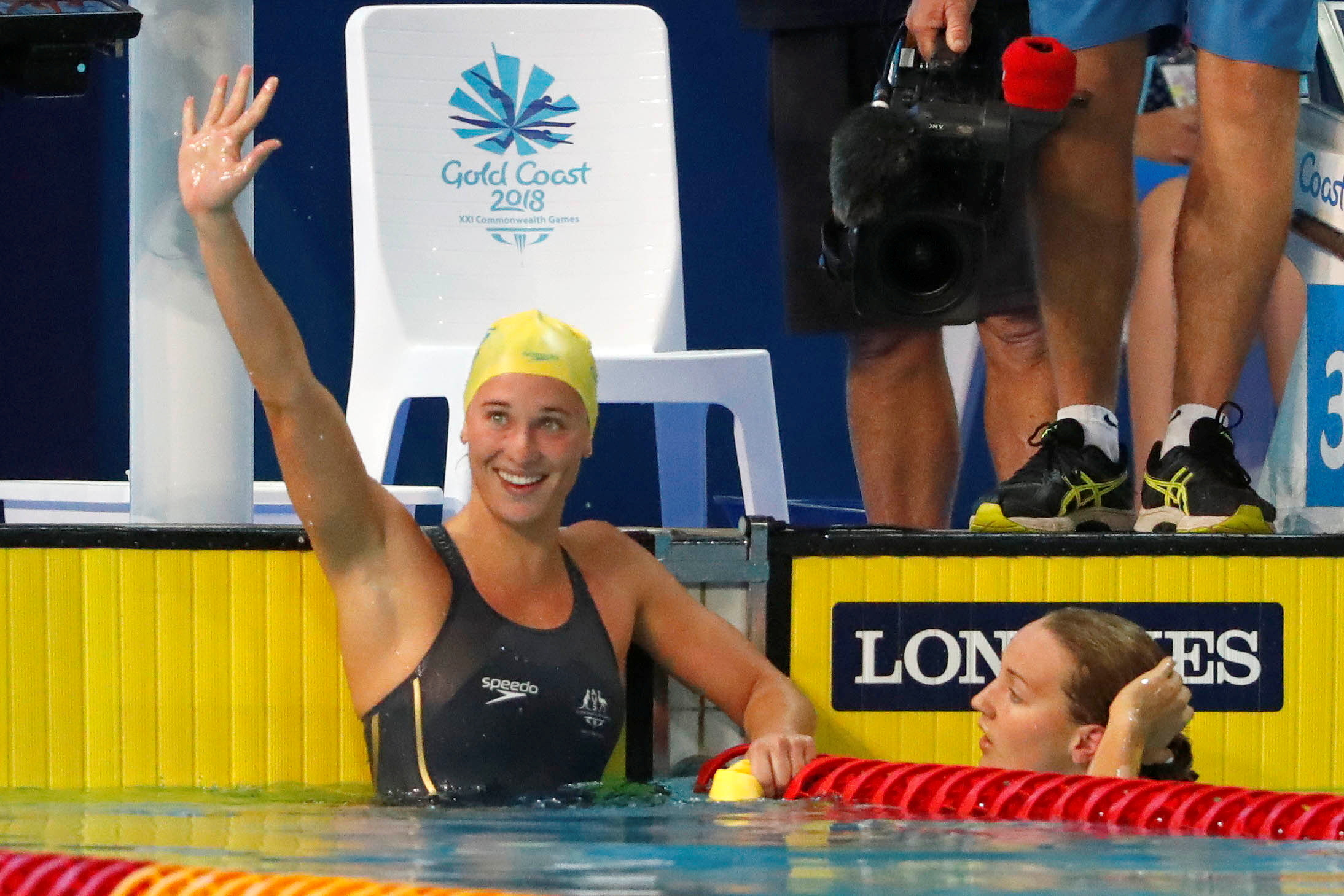 Swimming - Gold Coast 2018 Commonwealth Games - Women's 100m Butterfly Semifinal - Optus Aquatic Centre - Gold Coast, Australia - April 5, 2018. Madeline Groves of Australia reacts after winning a heat. REUTERS/David Gray/File Photo