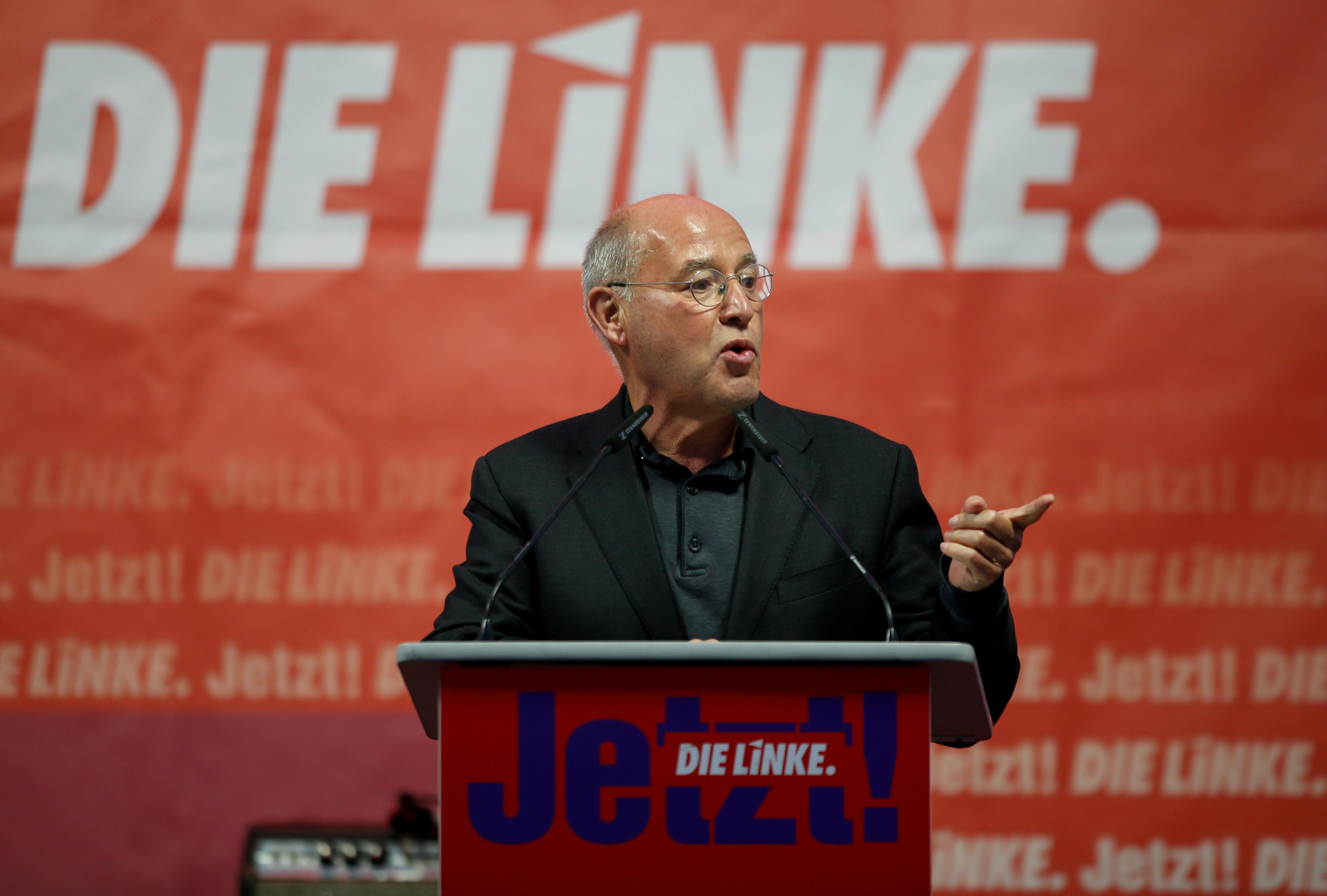 Gregor Gysi vasemmistopuolueesta Die Linke puhuu vaalikampanjan aikana Münchenissä, Saksassa, 17. syyskuuta 2021. REUTERS/Michaela Rehle/File Photo