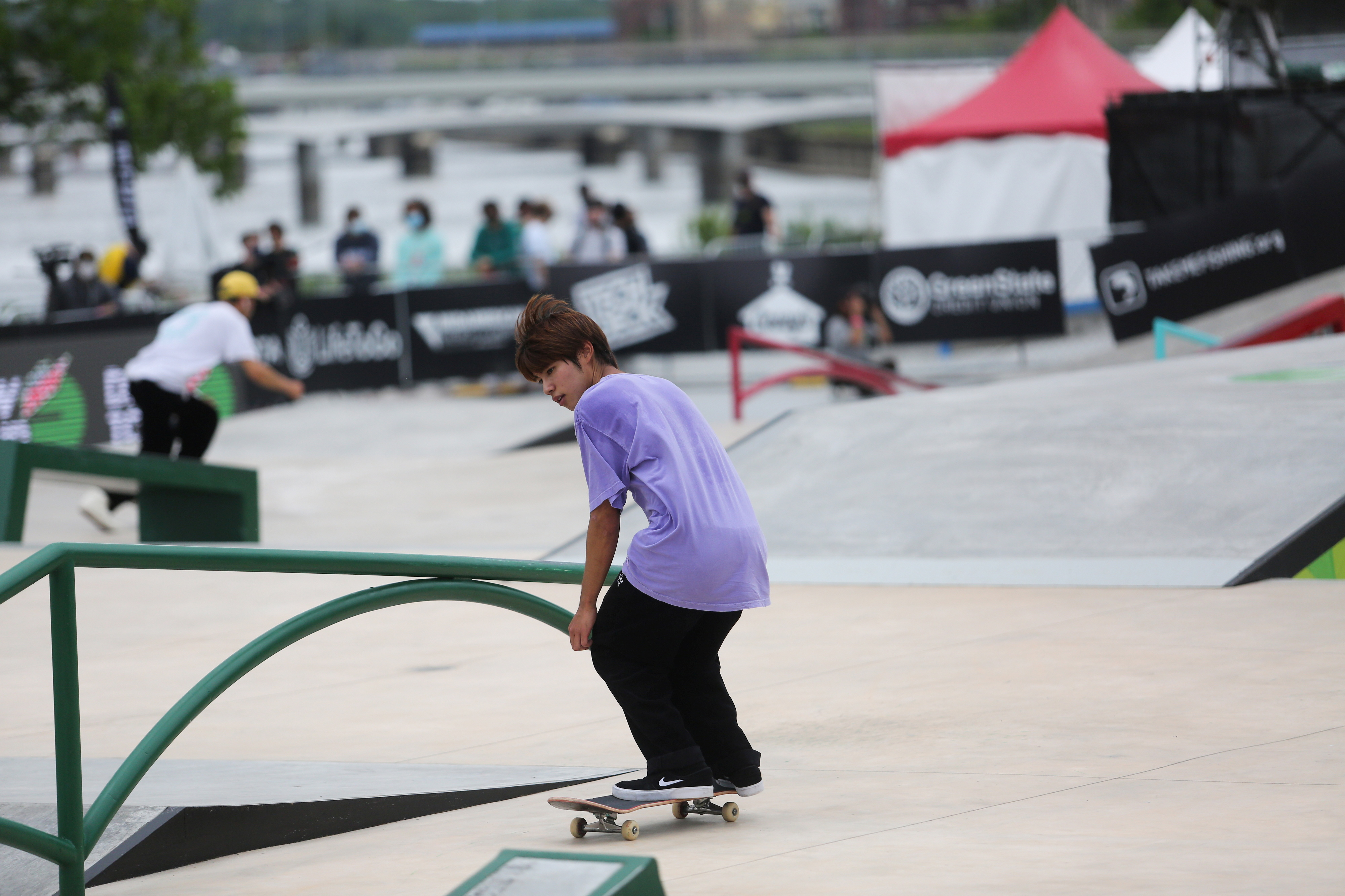 Skateboarder Yuto Horigome practices during a stop on the Dew Tour, which showcases athletes before skateboarding makes its Olympic debut in Tokyo, at Lauridsen Park in Des Moines, Iowa, U.S., May 20, 2021.  REUTERS/Rachel Mummey