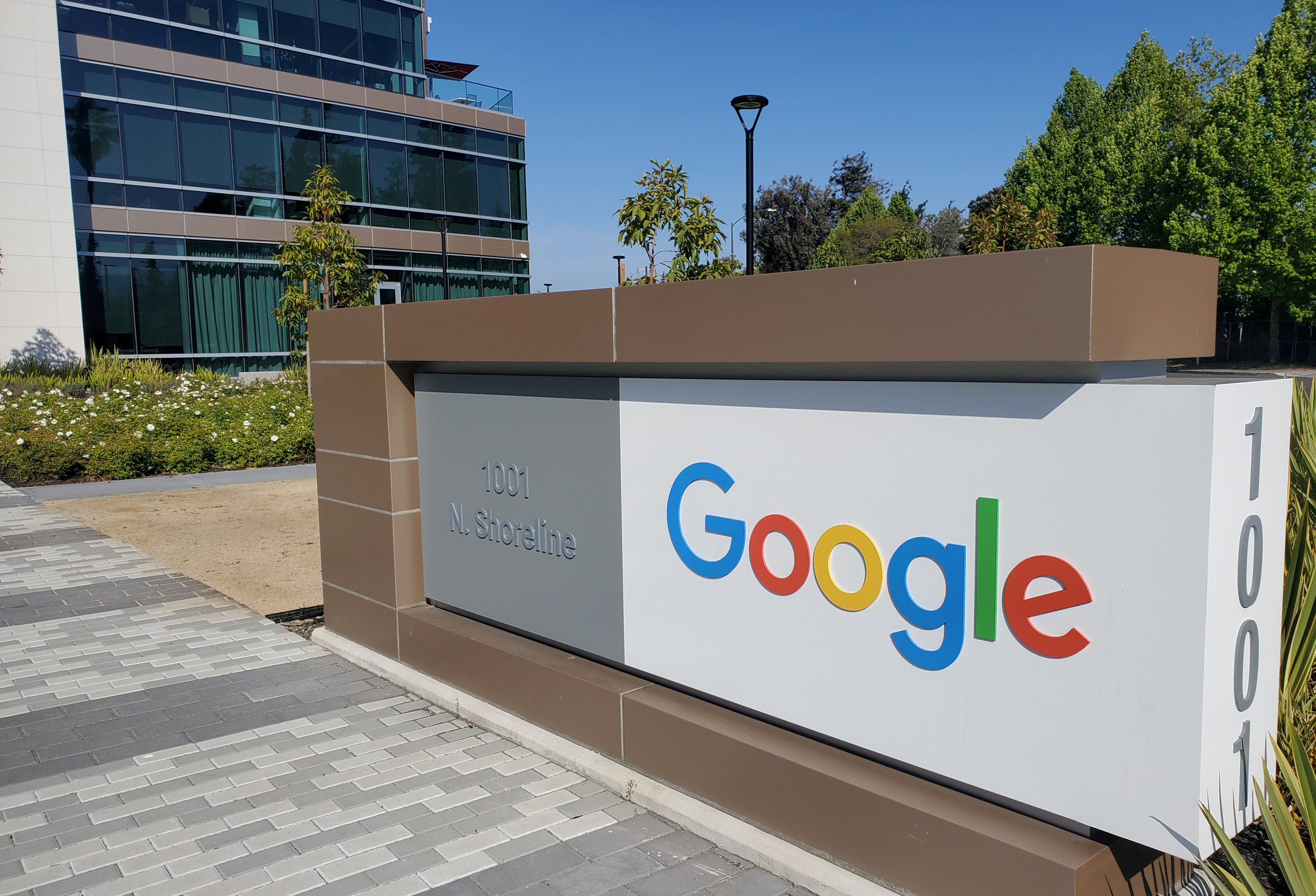 A sign is pictured outs a Google offcie near the company