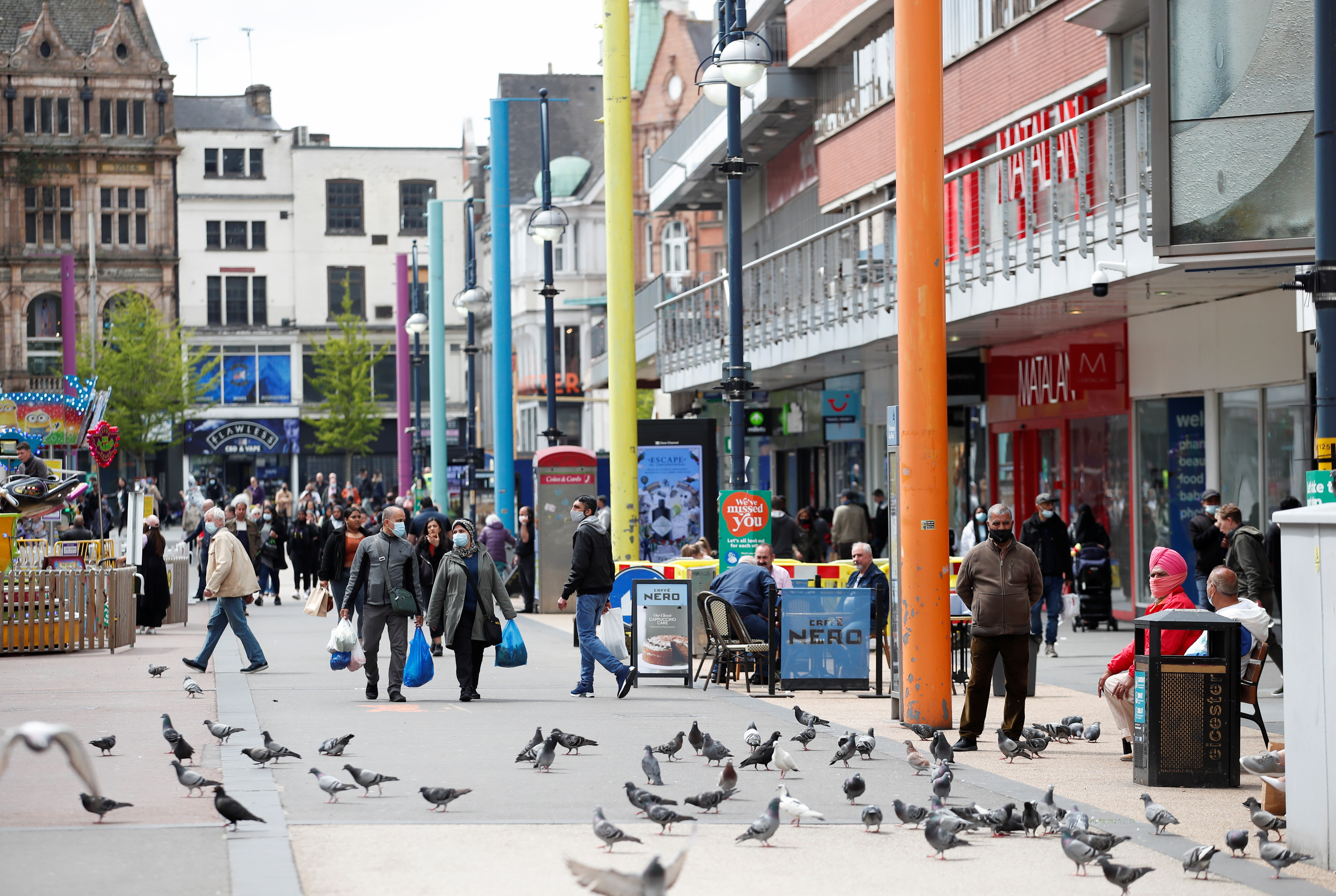 A general view of Leicester city centre, amid the spread of the coronavirus disease (COVID-19), in Leicester, Britain, May 27, 2021. REUTERS/Andrew Boyers