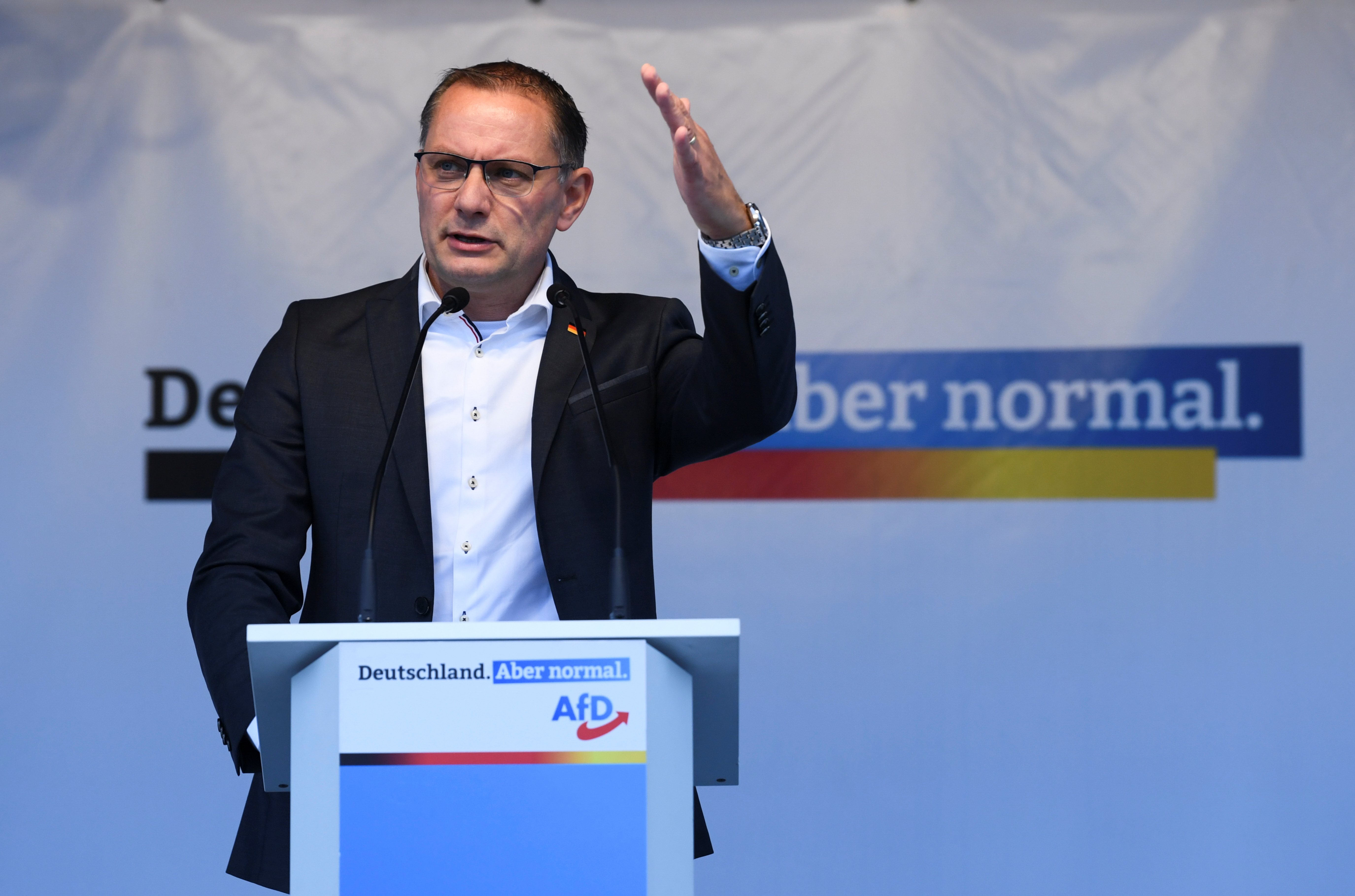 Right wing Alternative for Germany (AfD) top candidate for the upcoming general election, Tino Chrupalla, speaks during a campaign in Berlin, Germany, September 24, 2021. REUTERS/Annegret Hilse