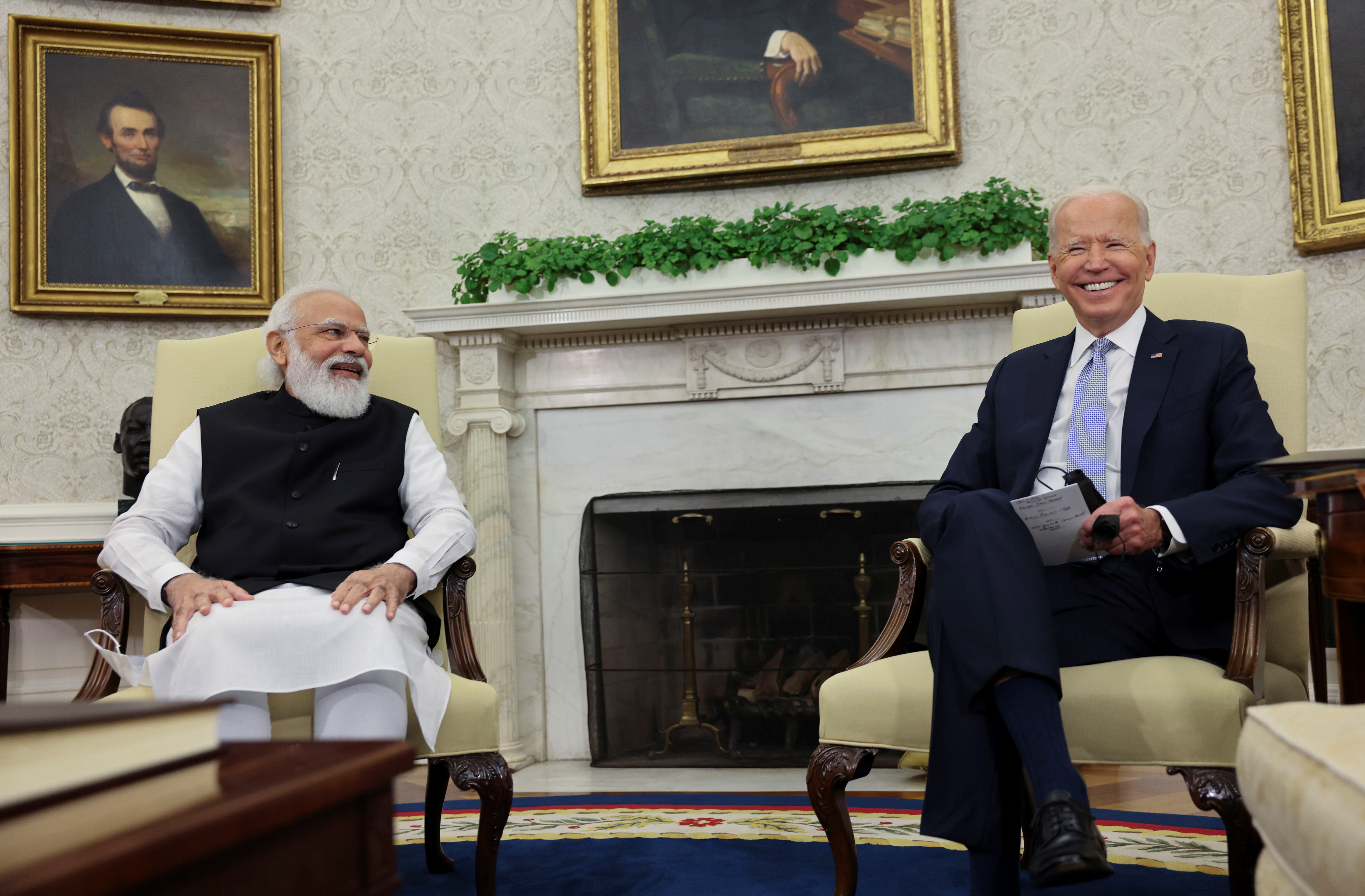 U.S. President Joe Biden meets with India's Prime Minister Narendra Modi in the Oval Office at the White House in Washington, U.S., September 24, 2021. REUTERS/Evelyn Hockstein