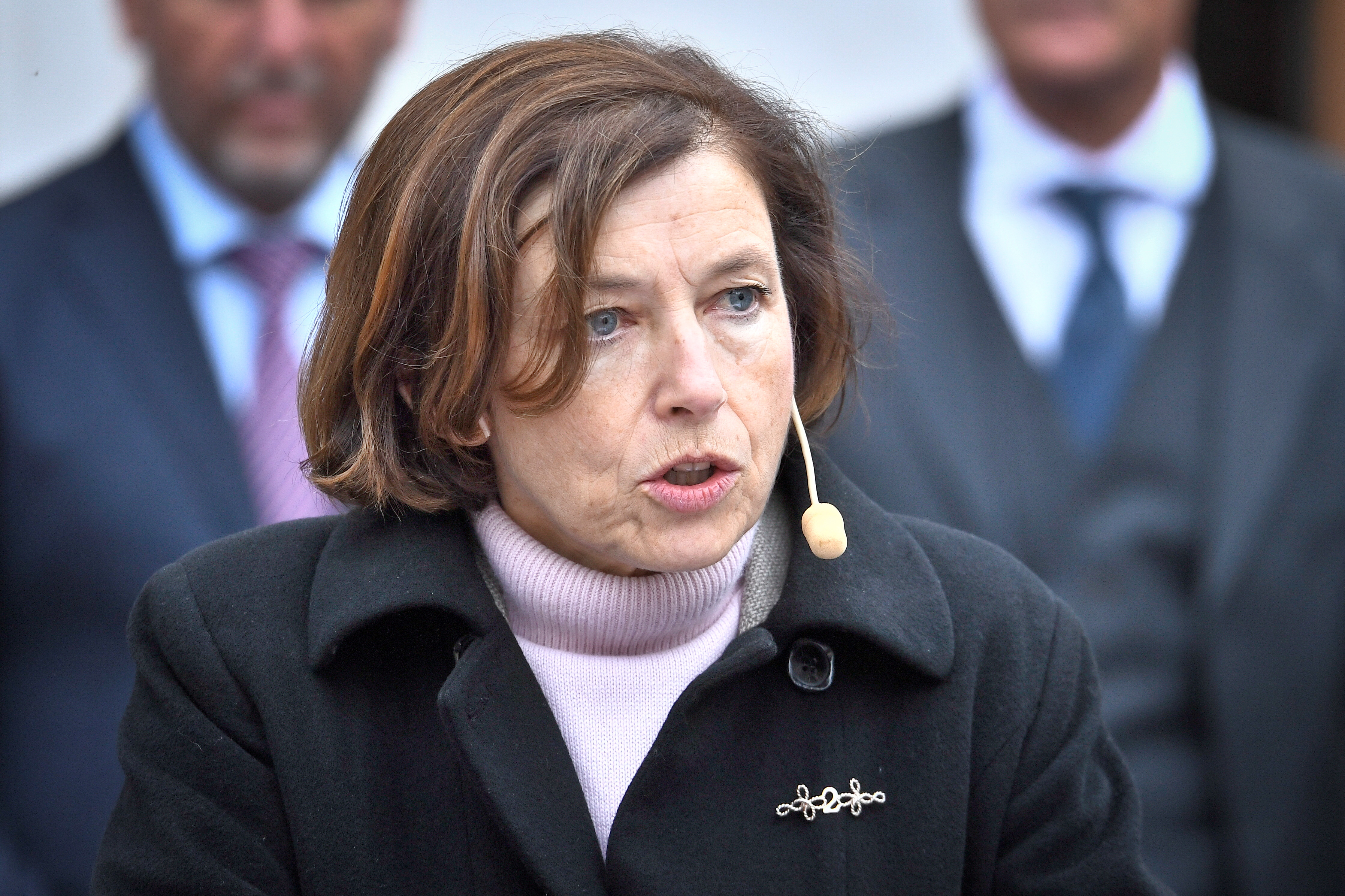 France's Minister of Defense Florence Parly speaks during a press briefing at Karlberg Castle in Stockholm, Sweden, September 24, 2021. Claudio Bresciani/TT News Agency via REUTERS.