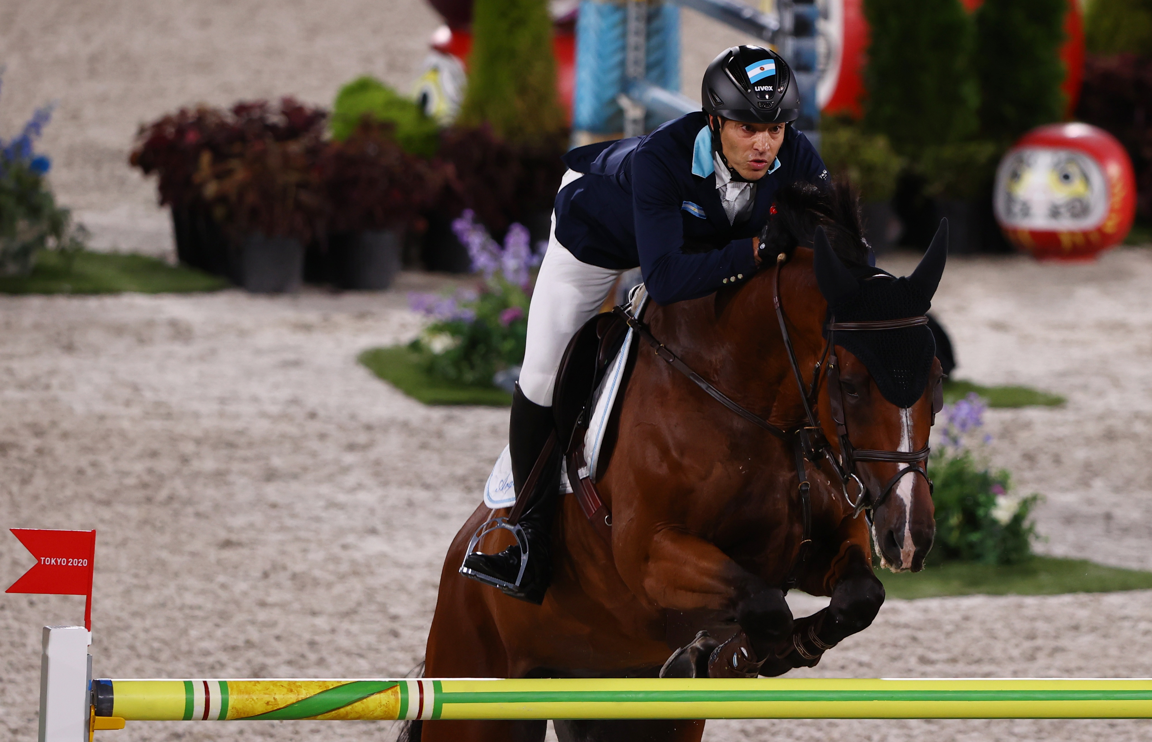 Tokyo 2020 Olympics - Equestrian - Jumping - Individual - Qualification - Equestrian Park - Tokyo, Japan - August 3, 2021. Jose Maria Larocca of Argentina on his horse Finn Lente competes. REUTERS/Hamad I Mohammed