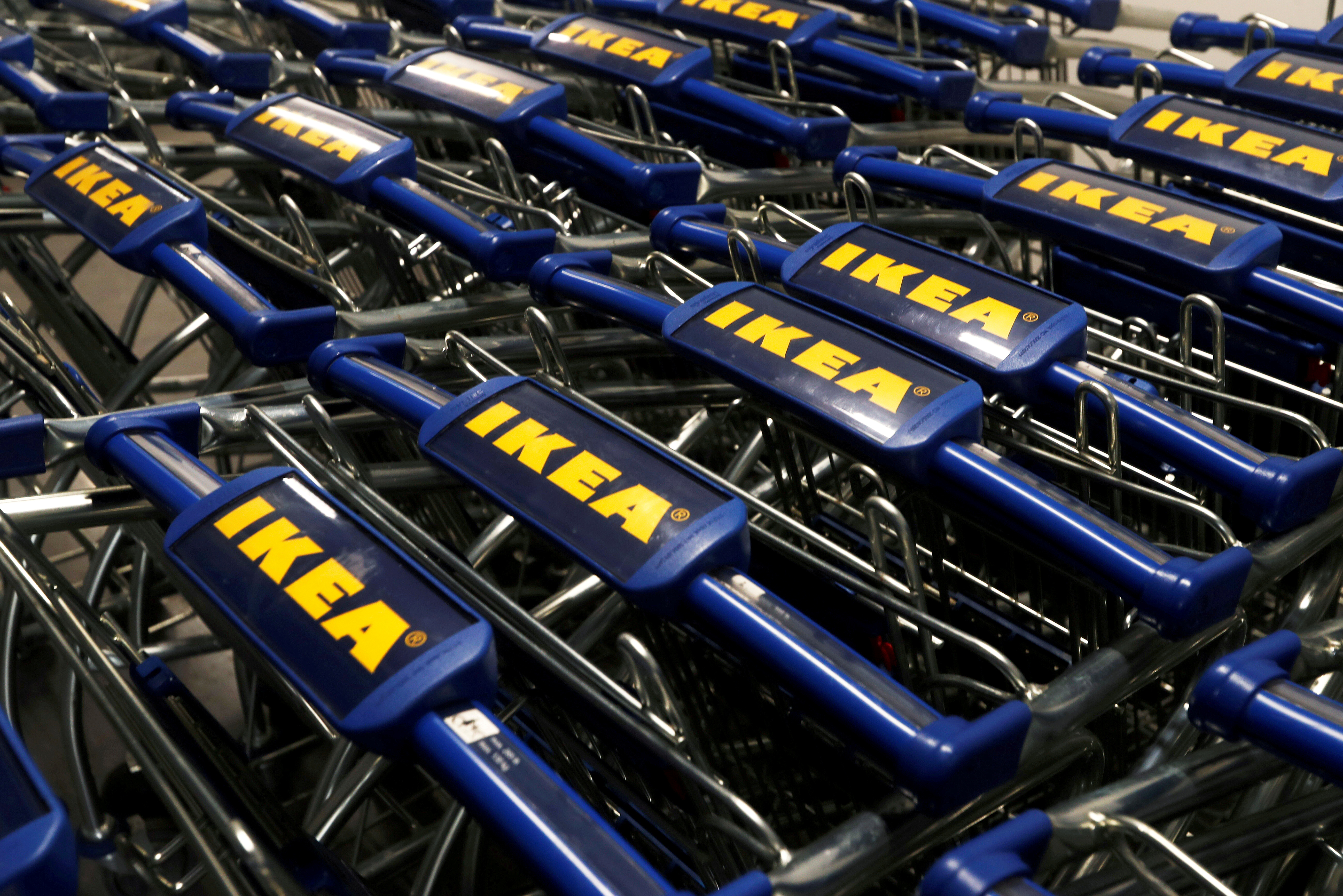 The IKEA logo is seen on shopping carts inside an IKEA store in Navi Mumbai, India, December 17, 2020. REUTERS/Francis Mascarenhas//File Photo