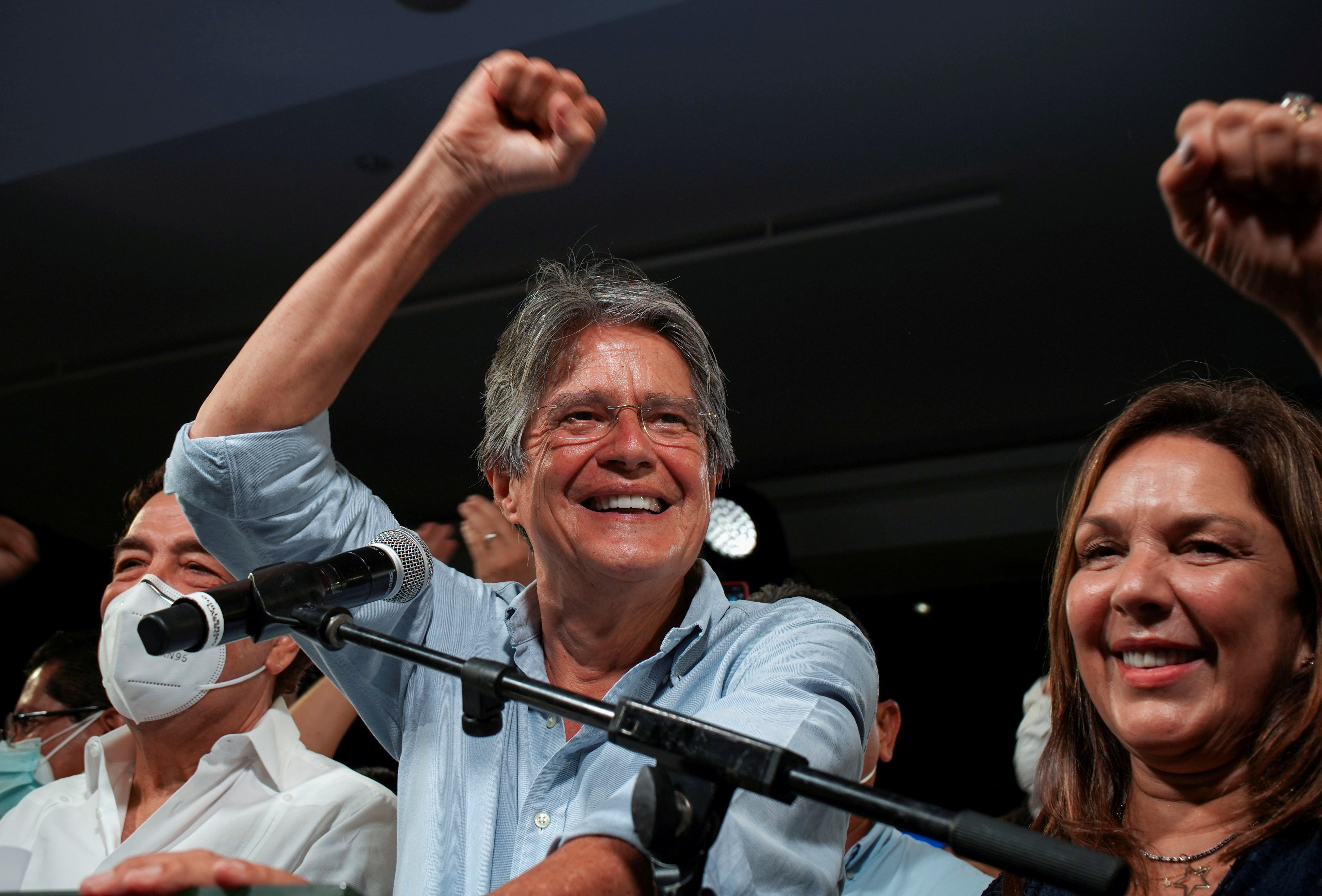 Ecuadorean banker Guillermo Lasso and his wife Maria de Lourdes Alcivar react after Lasso wins the presidential runoff vote, in Guayaquil, Ecuador April 11, 2021. REUTERS/Maria Fernanda Landin