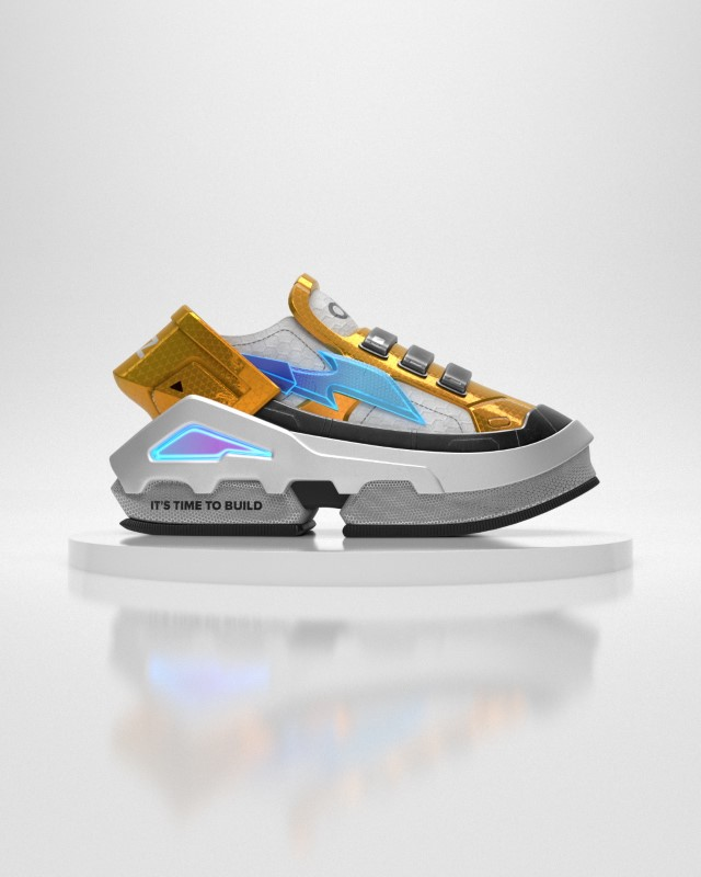 A virtual sneaker made by digital fashion company RTFKT in collaboration with the fund A16z is seen in this render obtained by Reuters on August 10, 2021. RTFKT INC/Handout via REUTERS THIS IMAGE HAS BEEN SUPPLIED BY A THIRD PARTY. MANDATORY CREDIT. NO RESALES. NO ARCHIVES.