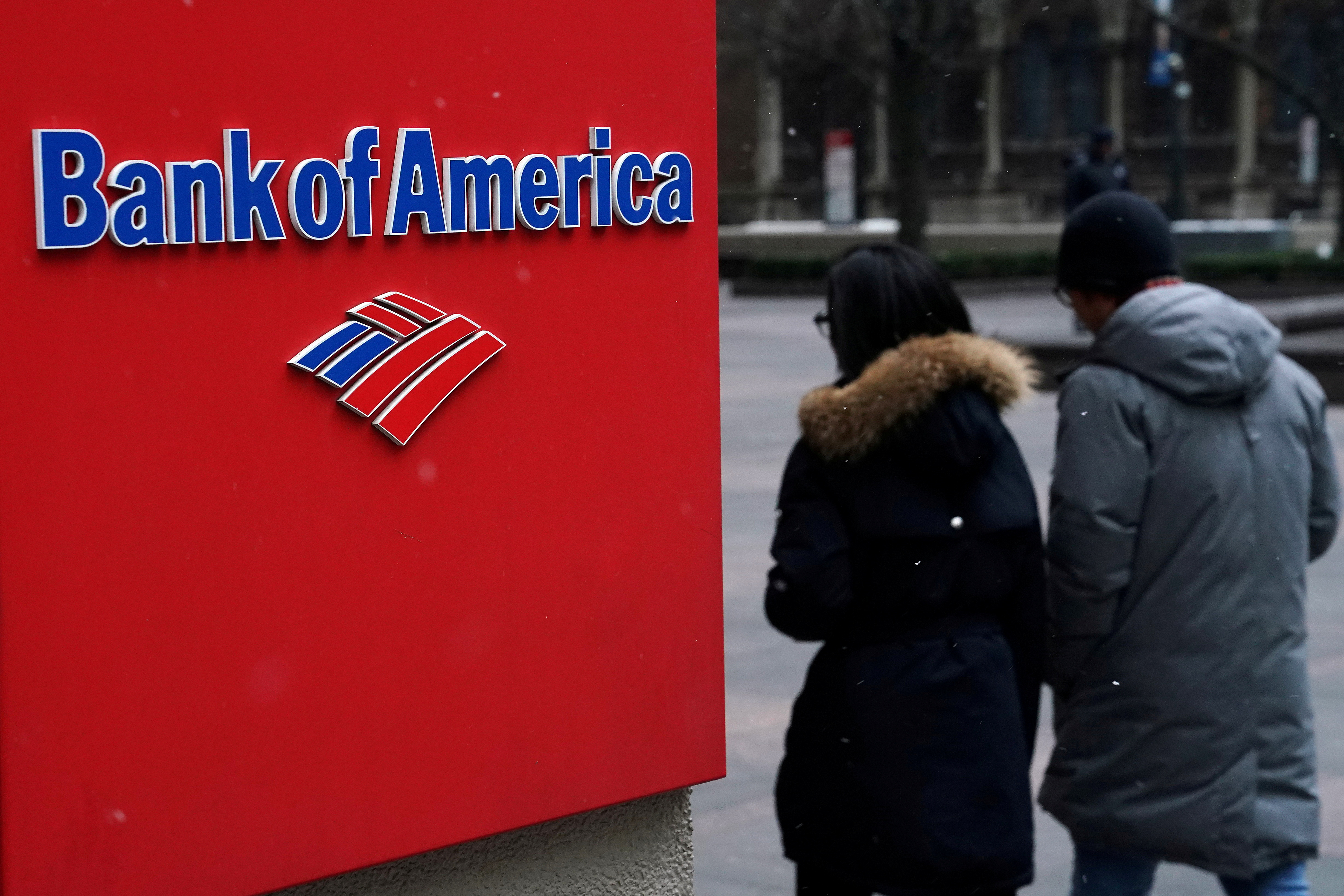 A Bank of America logo is pictured in the Manhattan borough of New York City, New York, U.S., January 30, 2019. REUTERS/Carlo Allegri